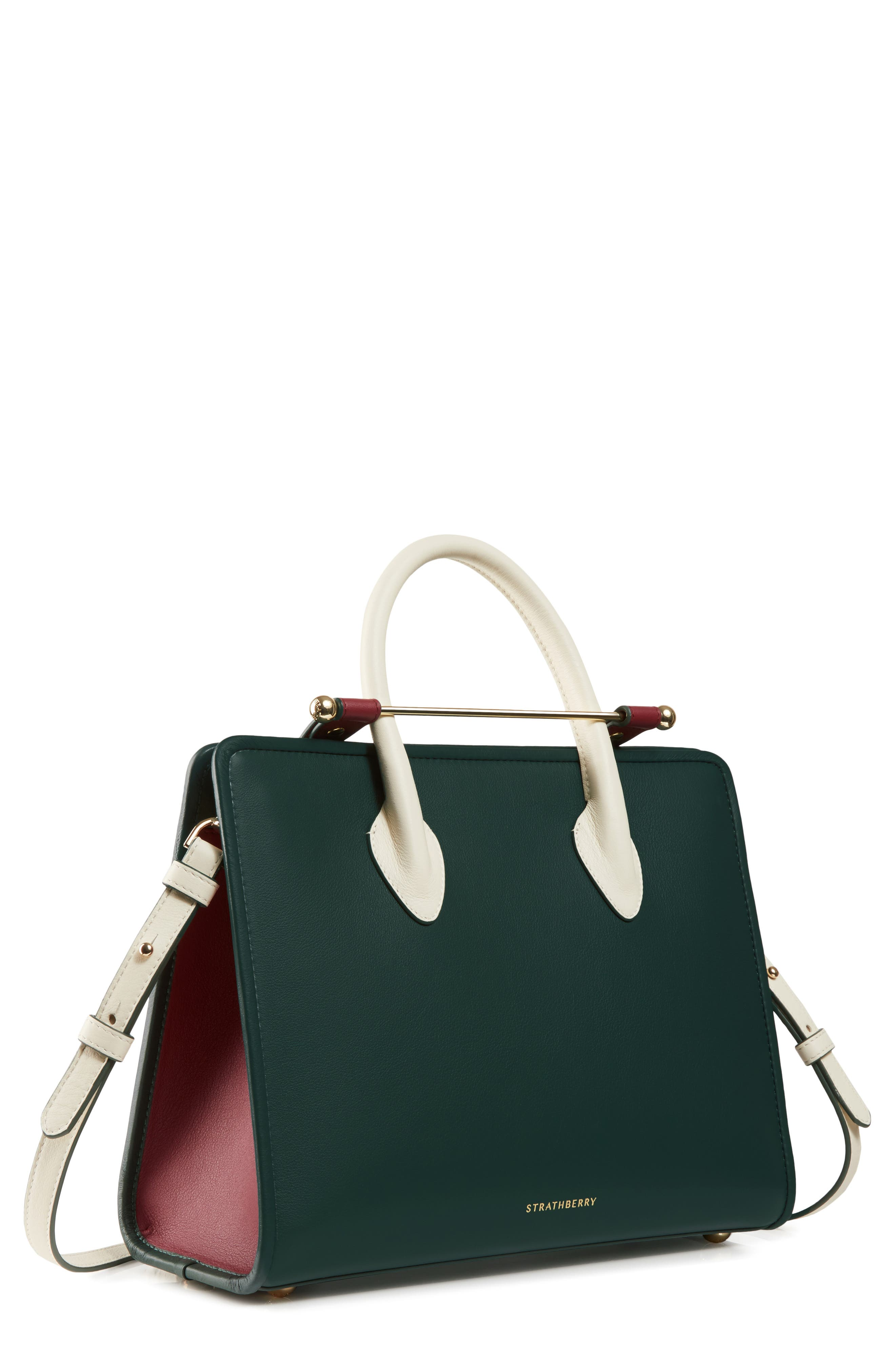 STRATHBERRY,                             Midi Leather Tote,                             Main thumbnail 1, color,                             BOTTLE GREEN/ EMBER/ VANILLA