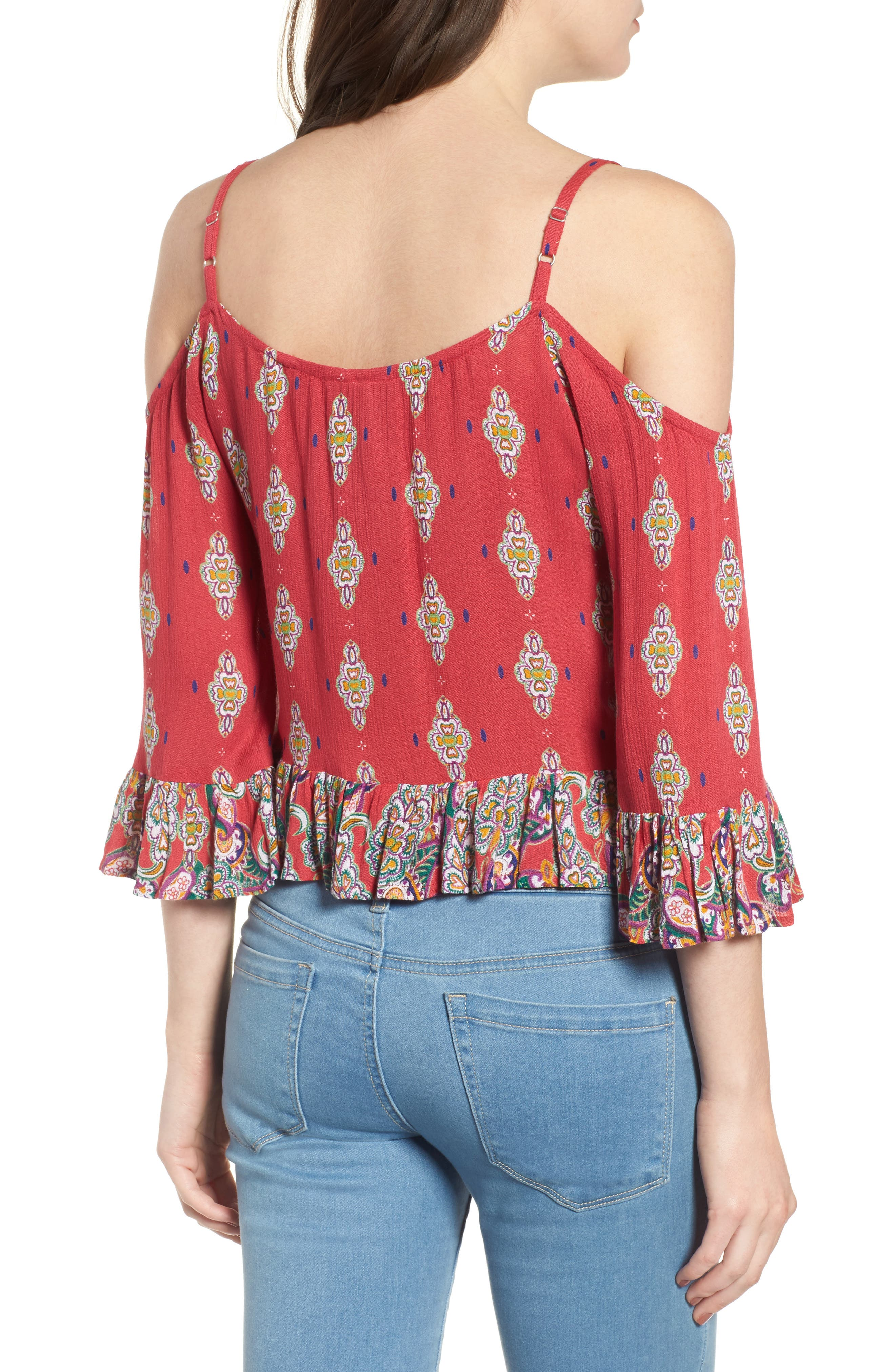 Alice Ruffle Cold Shoulder Top,                             Alternate thumbnail 2, color,                             645
