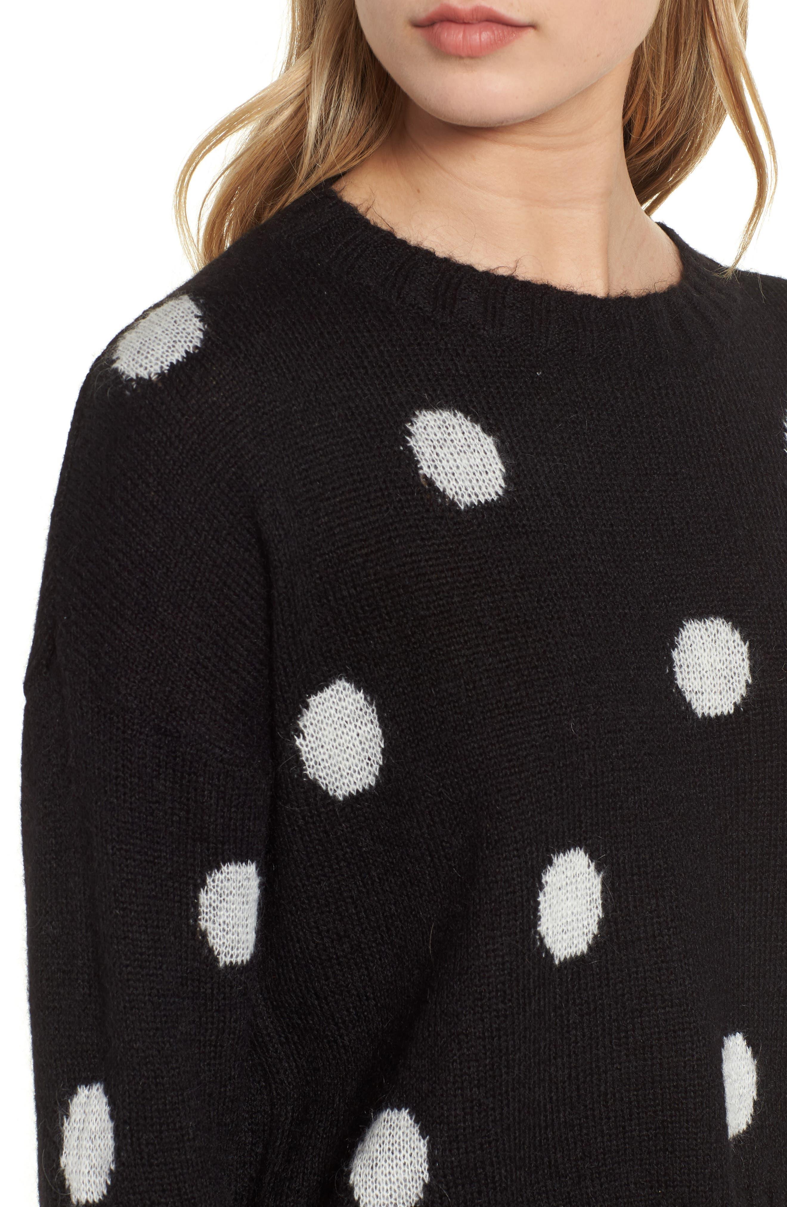 Perci Sweater,                             Alternate thumbnail 4, color,                             BLACK/ IVORY POLKA DOT