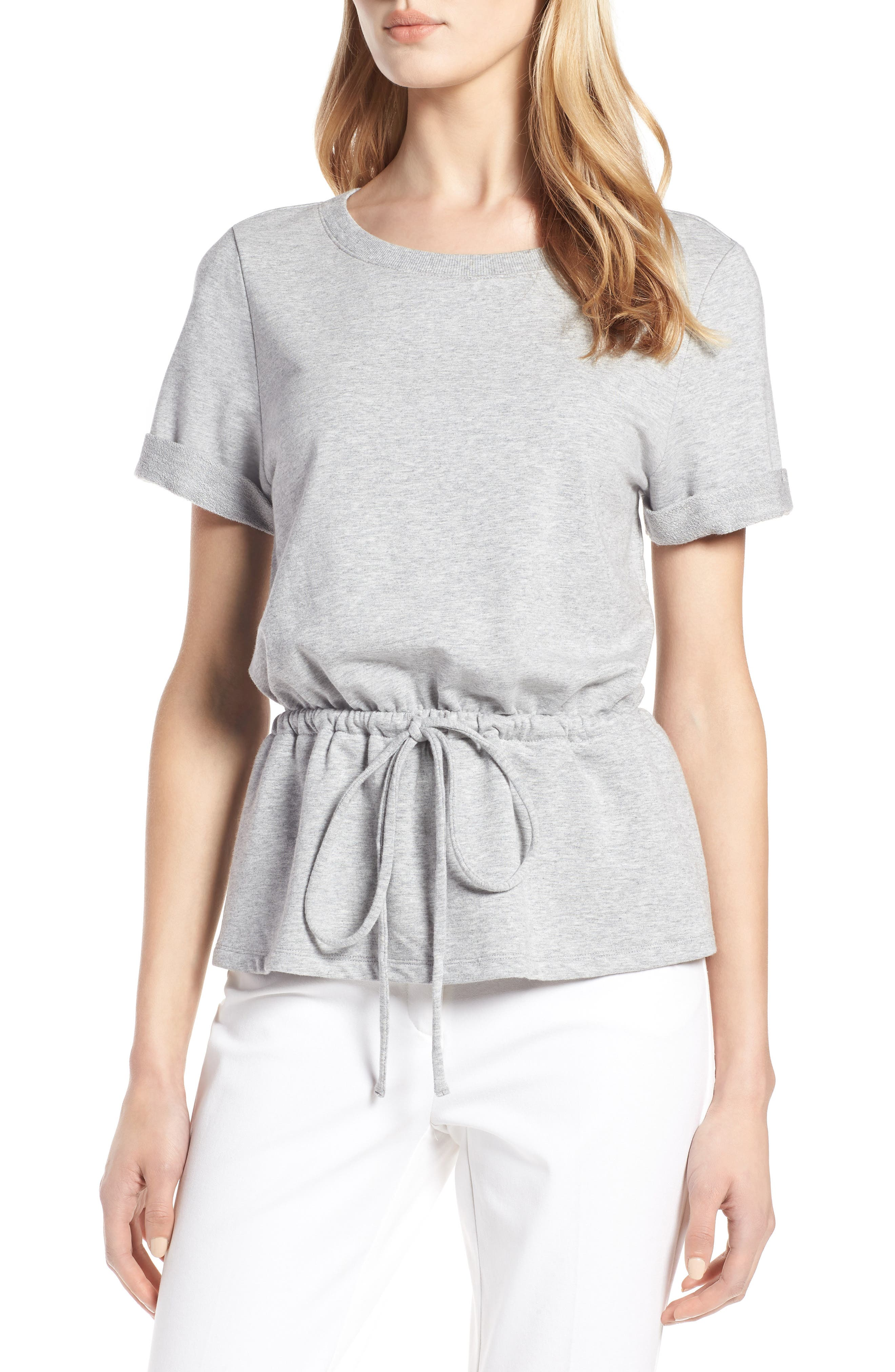 Drawcord Peplum Cotton Blend Top,                         Main,                         color,