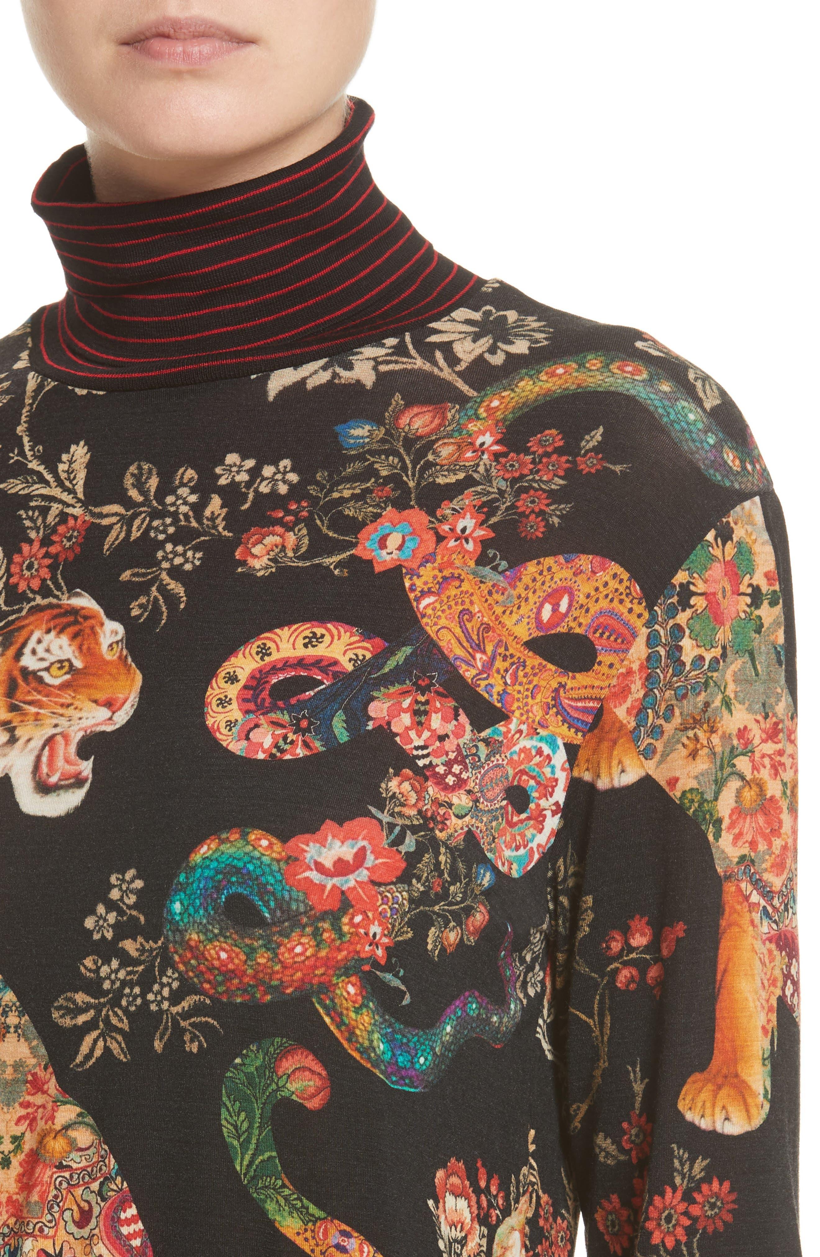Tiger Print Mock Neck Sweater,                             Alternate thumbnail 4, color,
