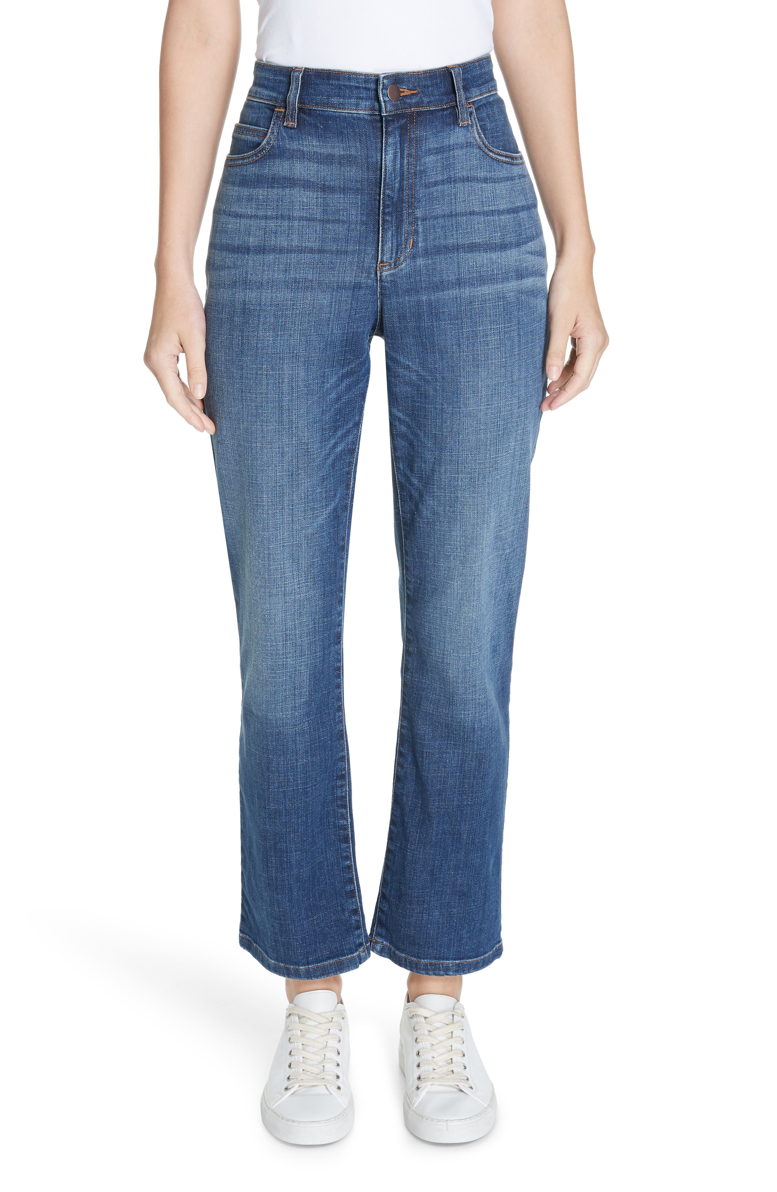 petite women's eileen fisher high waist ankle bootcut jeans, size 18p - blue