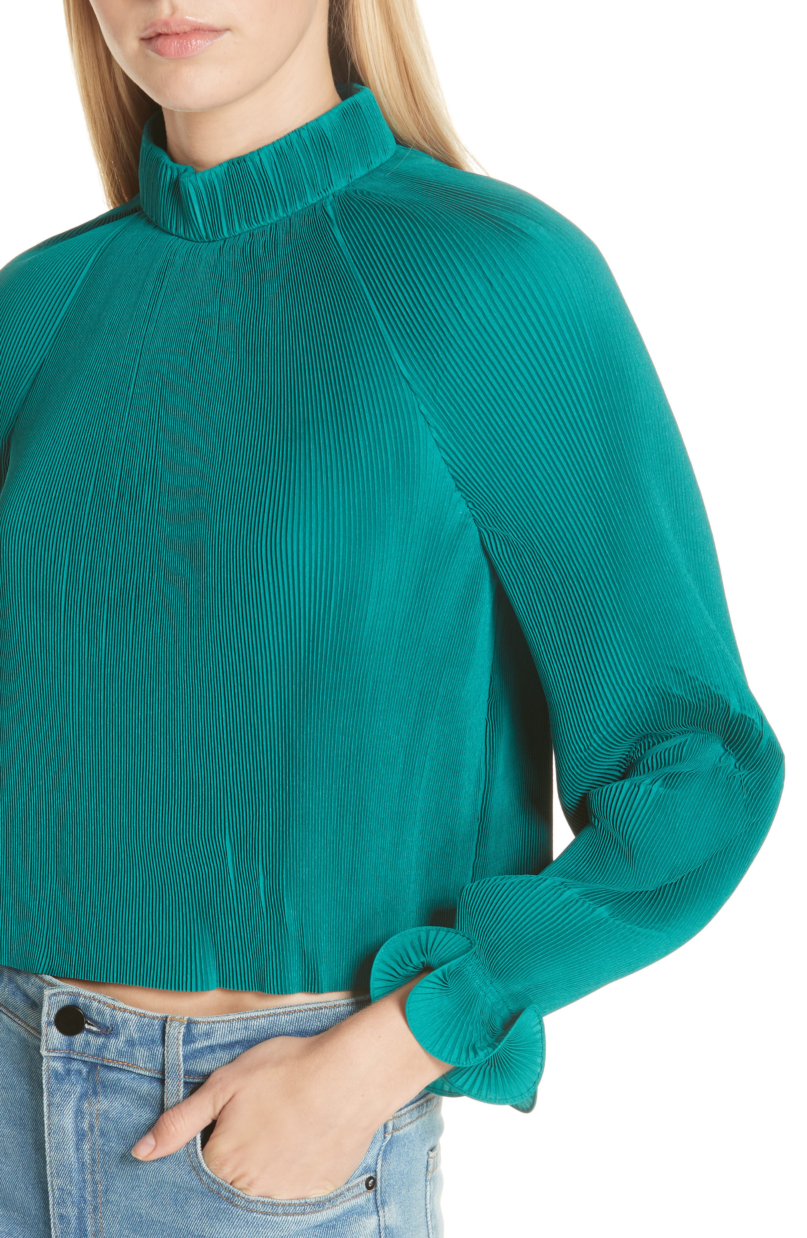 Pleated Crop Top,                             Alternate thumbnail 14, color,