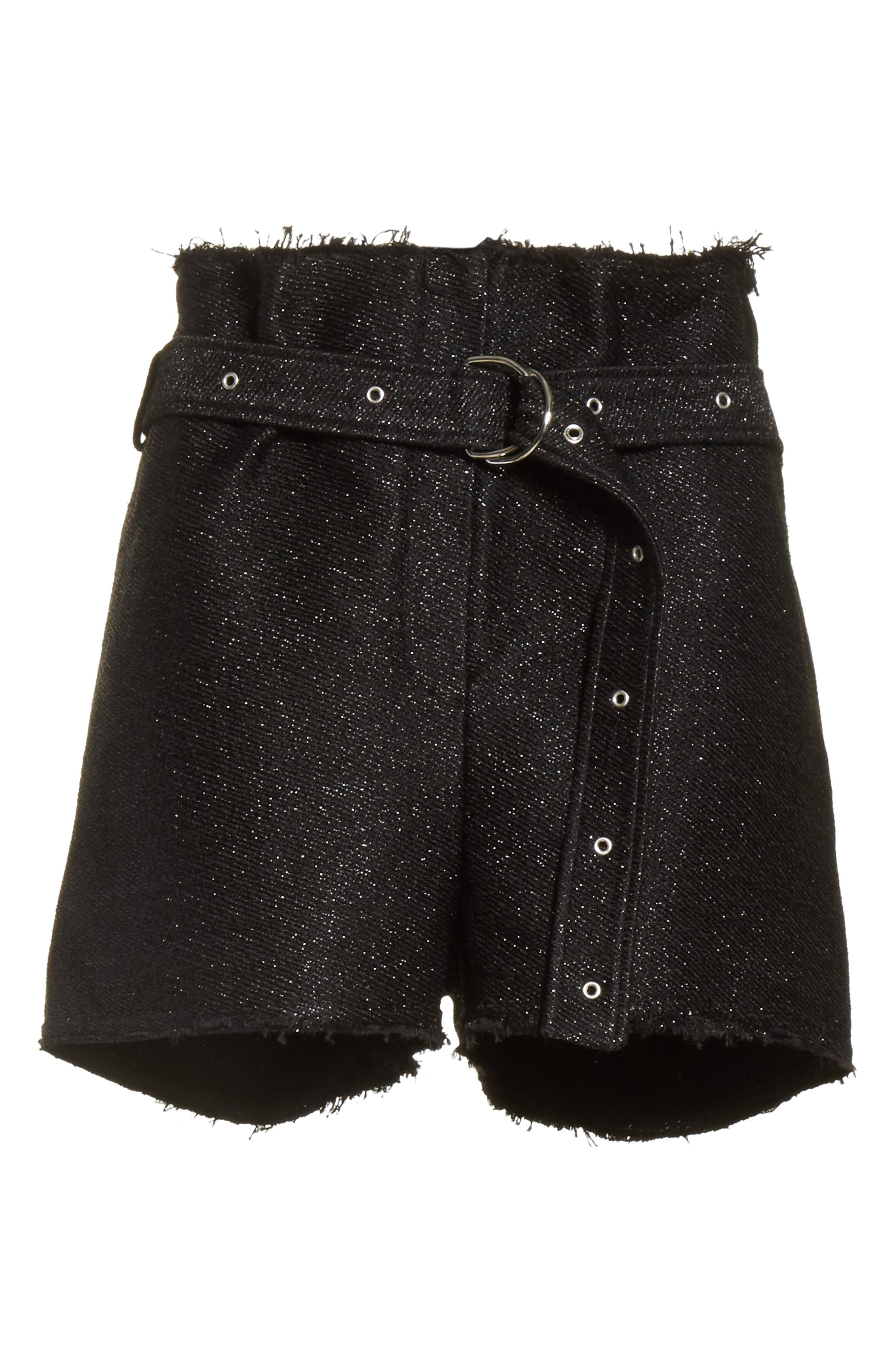 Chopan Belted Paper Bag Shorts,                             Alternate thumbnail 6, color,                             001