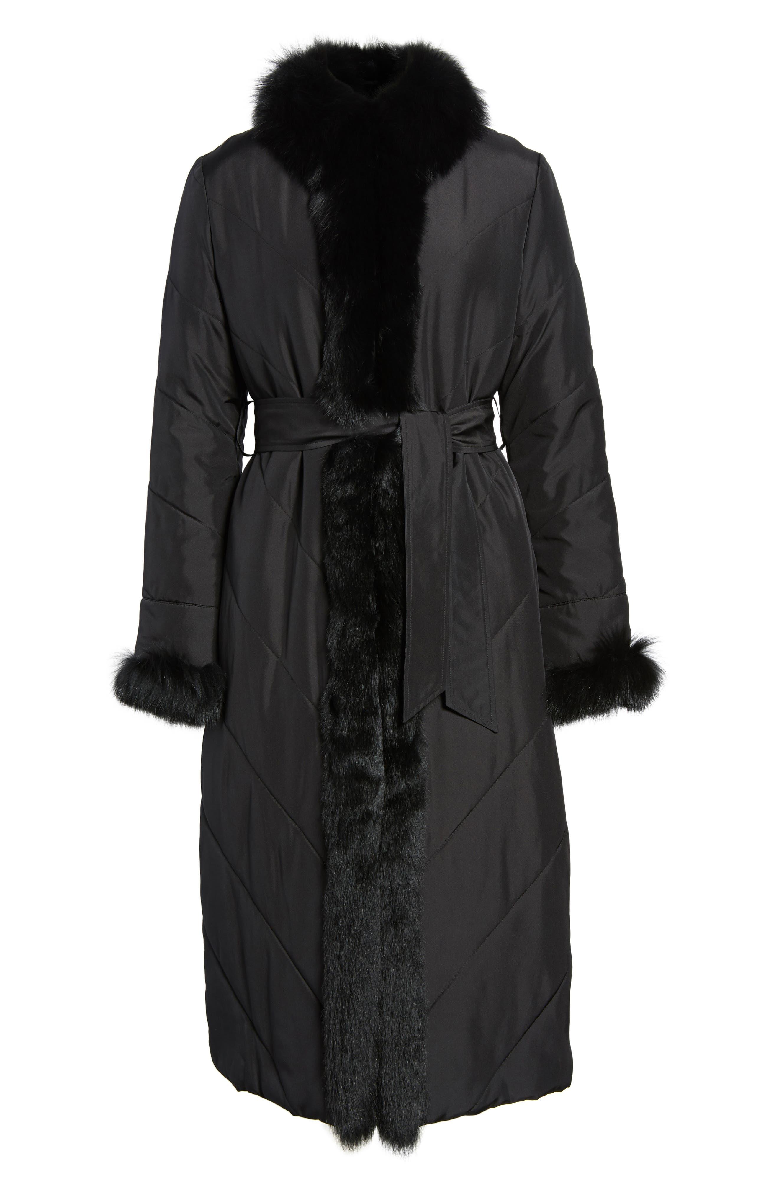Couture Packable Silk Coat with Genuine Fox Fur & Genuine Rabbit Fur,                             Alternate thumbnail 5, color,                             001