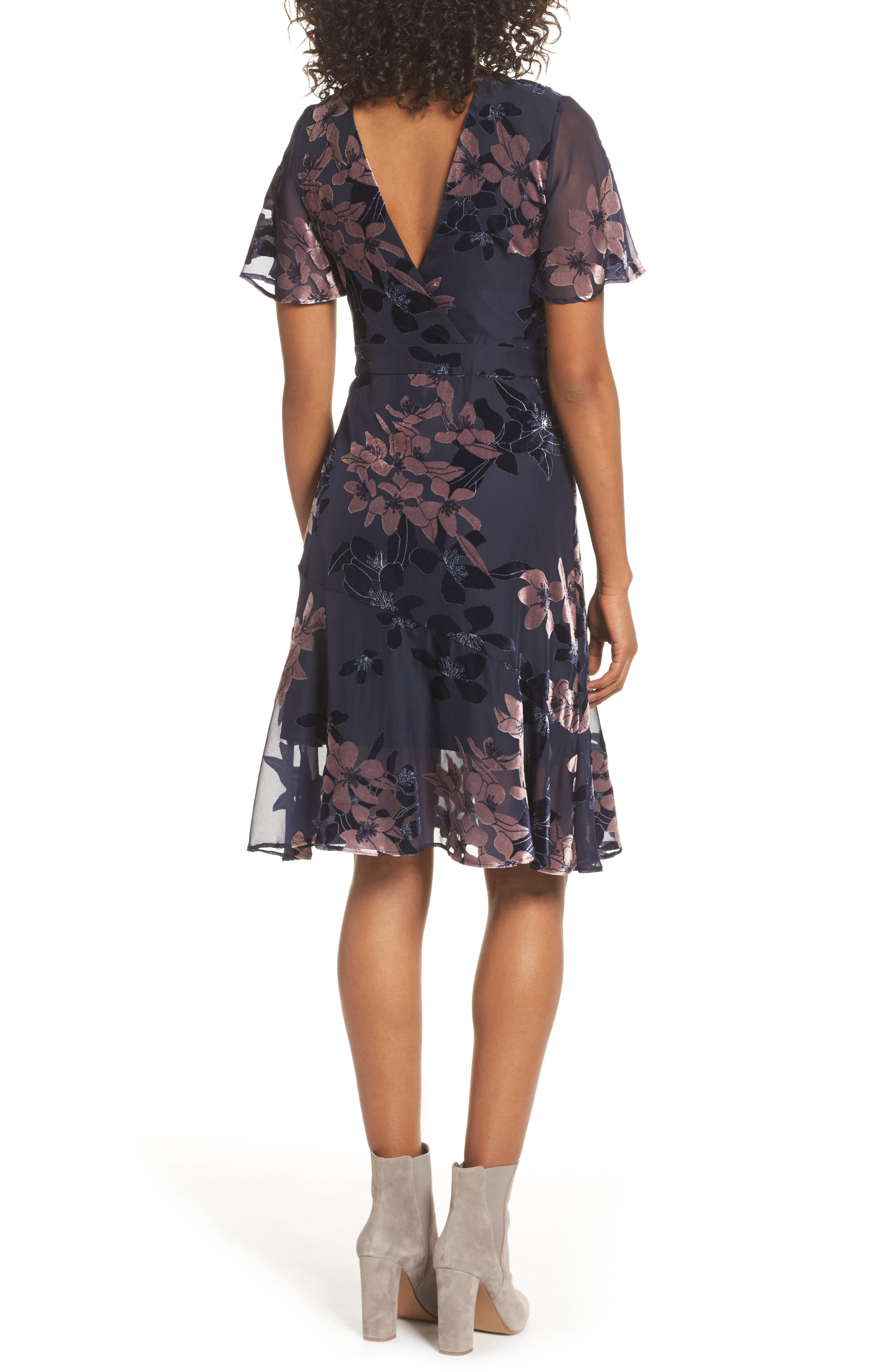 Burnout Floral Flare Hem Dress,                             Alternate thumbnail 2, color,                             BLUE MULTI
