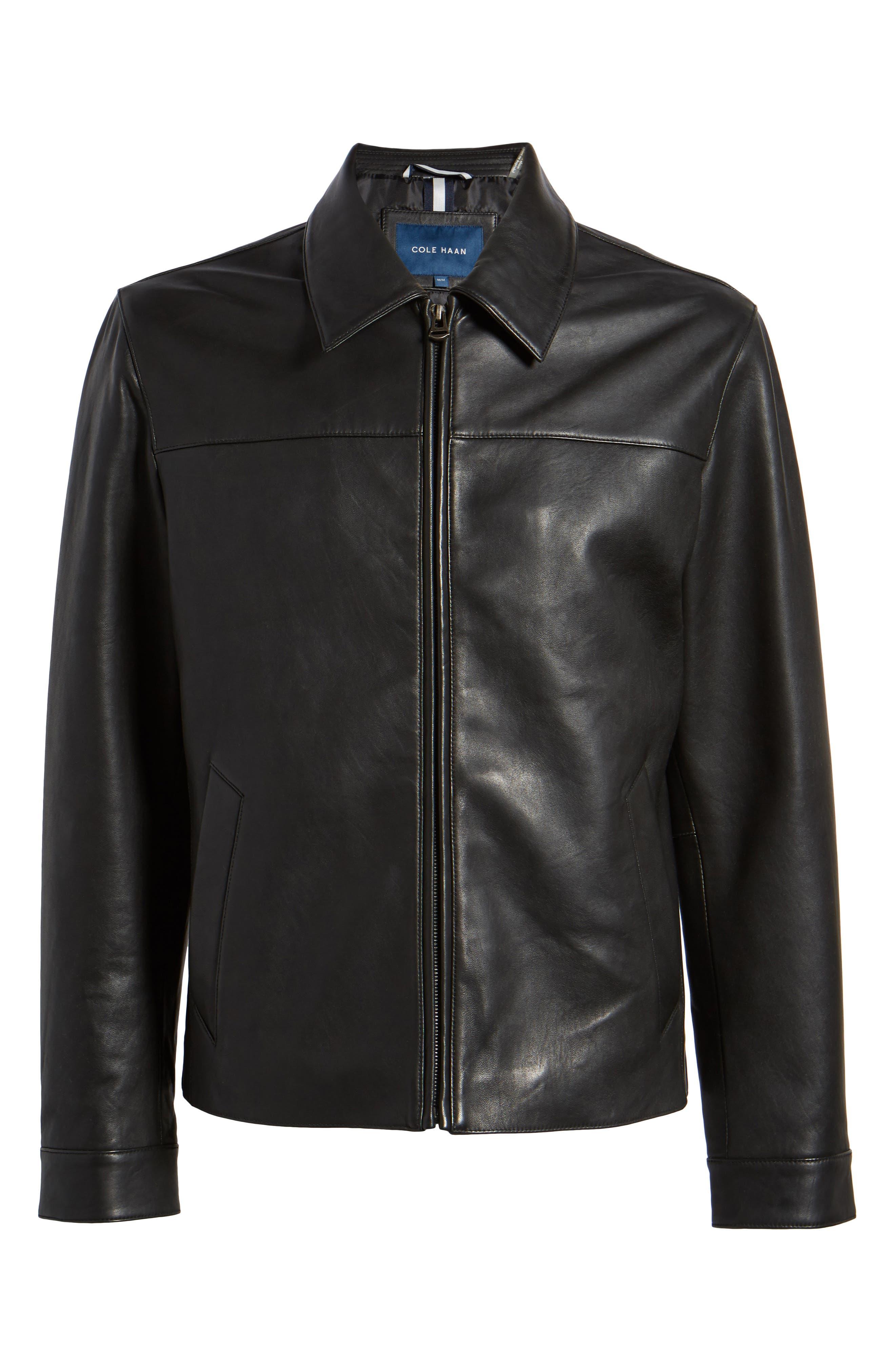Regular Fit Leather Jacket,                             Alternate thumbnail 5, color,                             BLACK