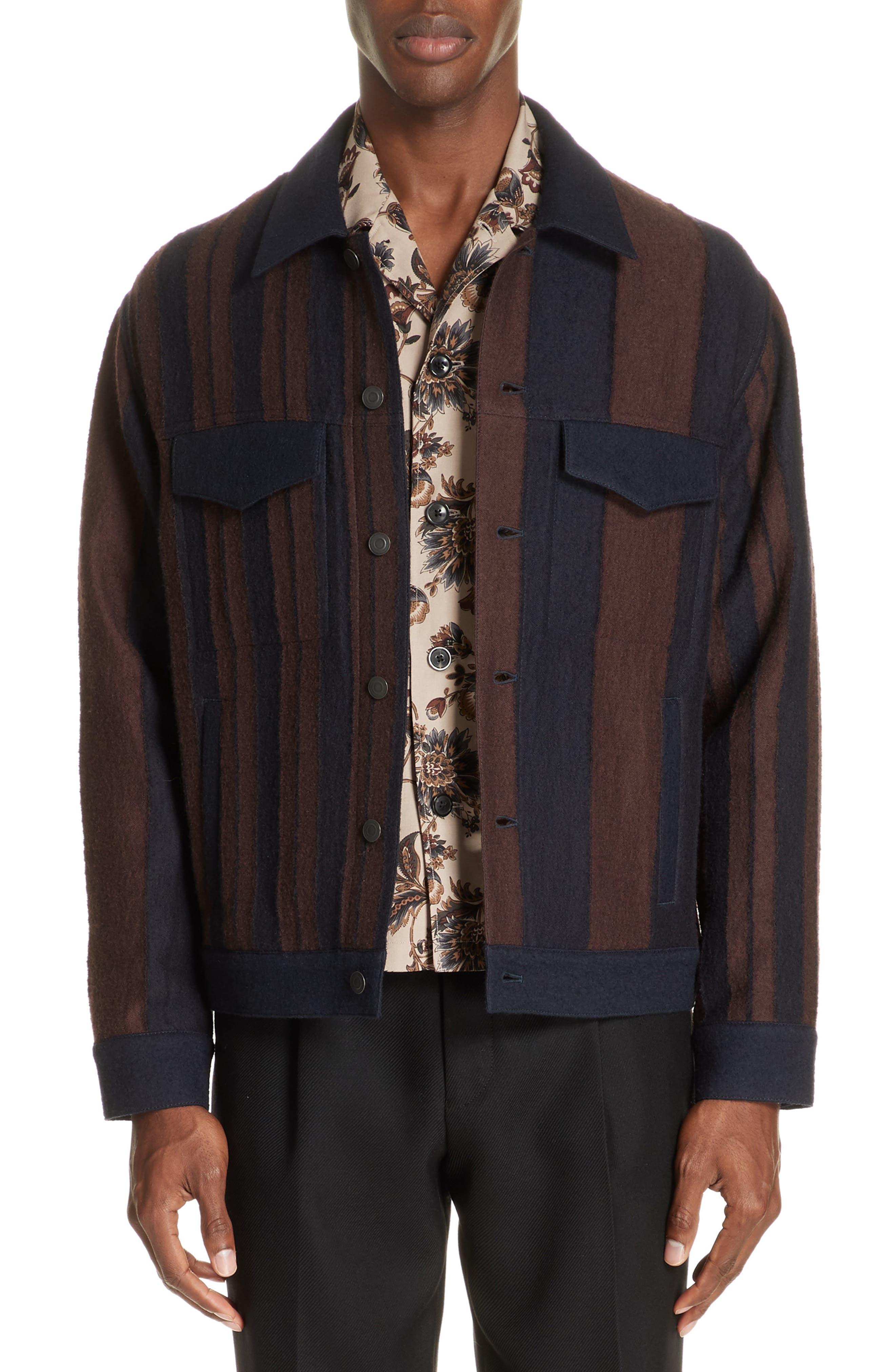 Stripe Wool Blend Jacket,                         Main,                         color, 001