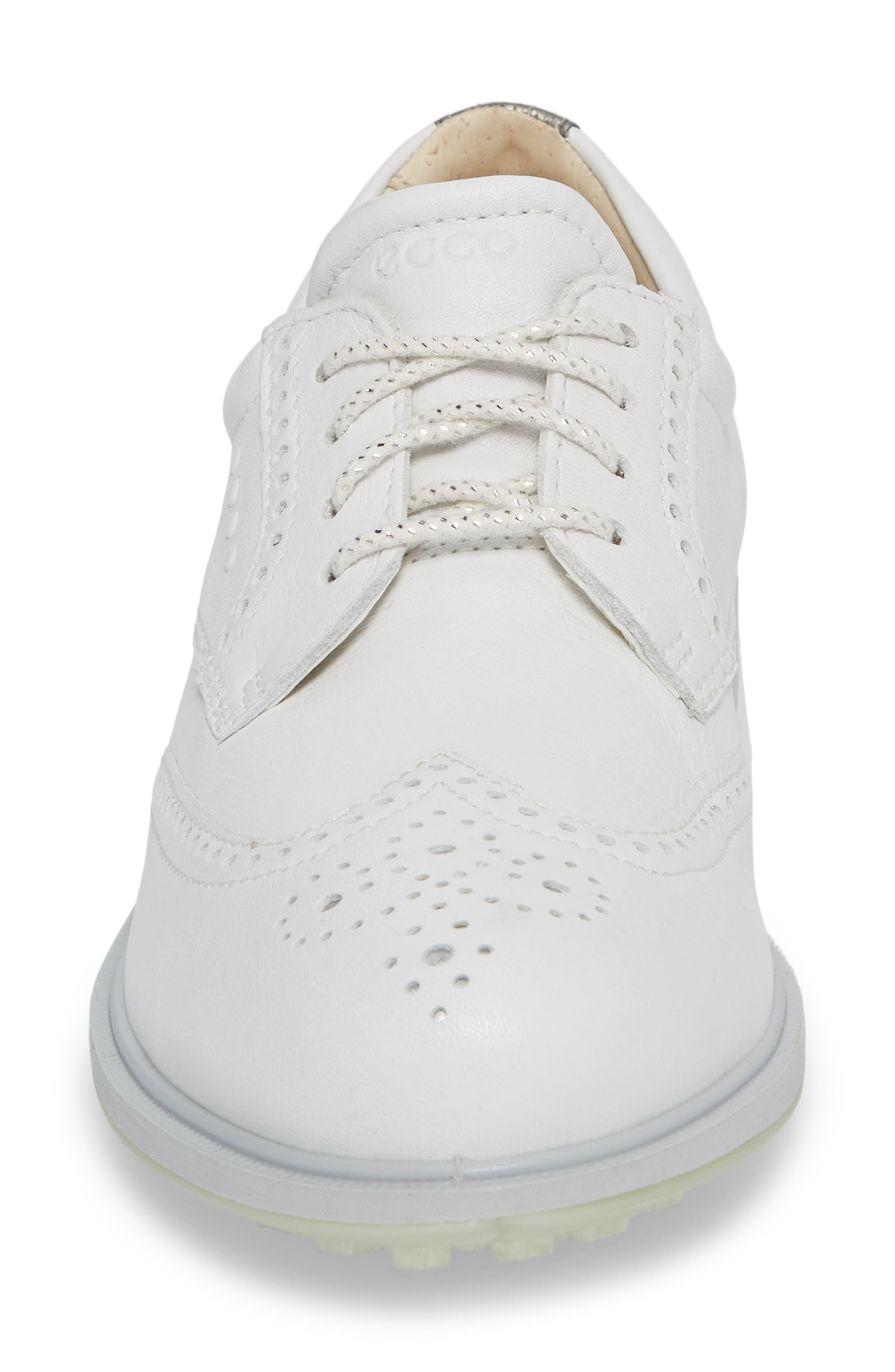 'Tour' Hybrid Wingtip Golf Shoe,                             Alternate thumbnail 4, color,                             WHITE LEATHER/ GREY