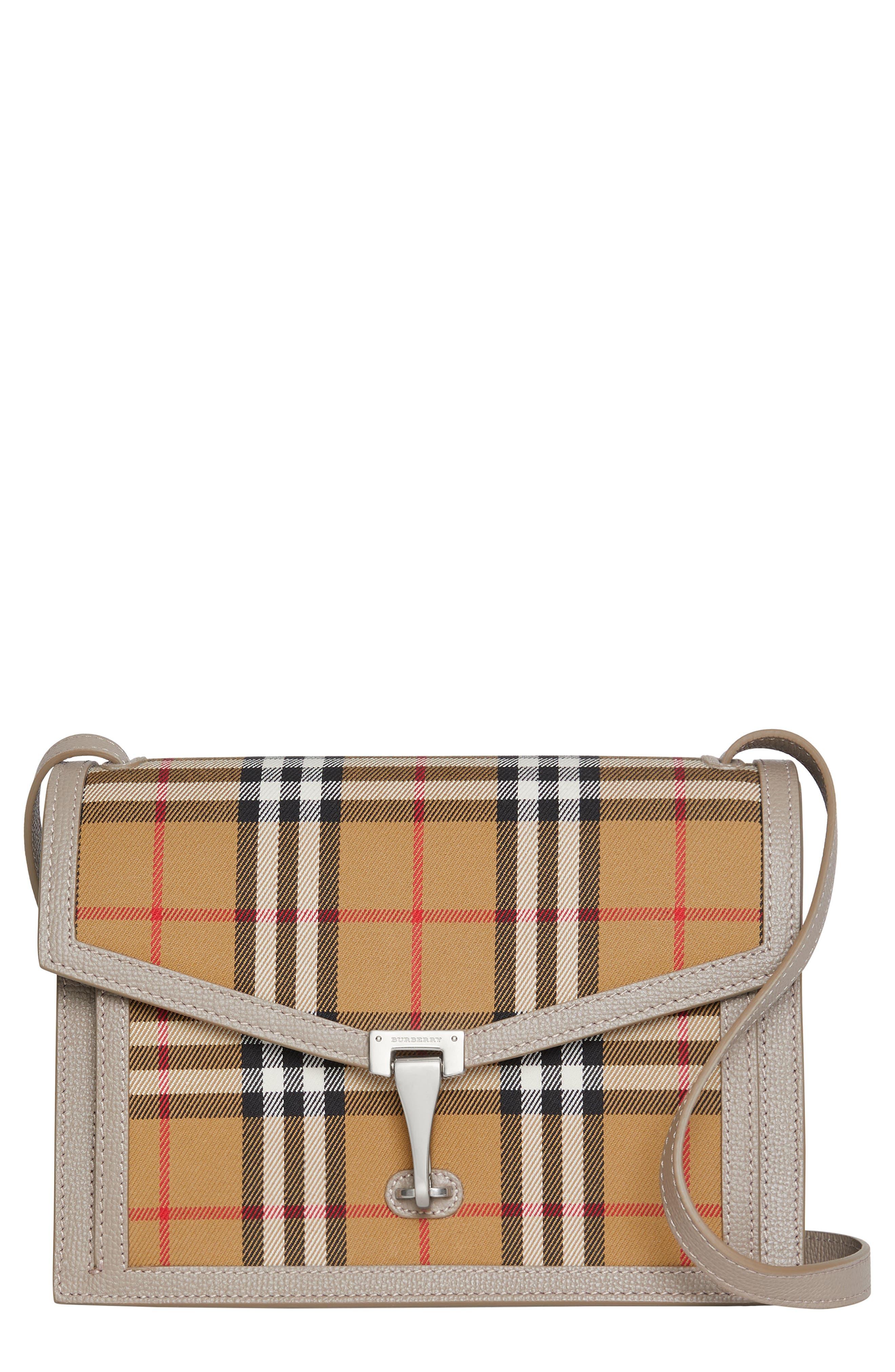 Small Macken Vintage Check Crossbody Bag,                             Main thumbnail 1, color,                             TAUPE BROWN