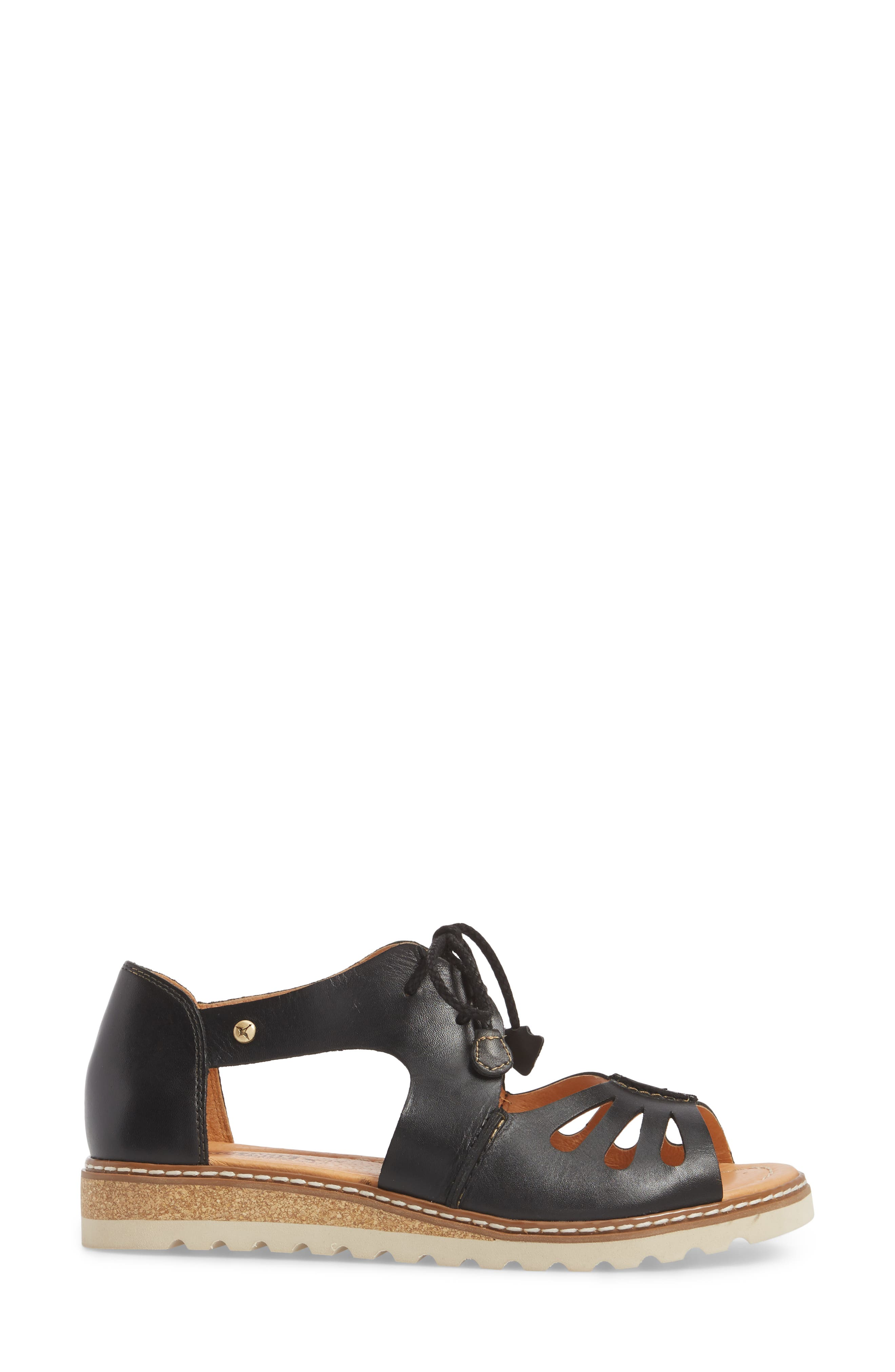Alcudia Lace-Up Sandal,                             Alternate thumbnail 3, color,                             BLACK LEATHER