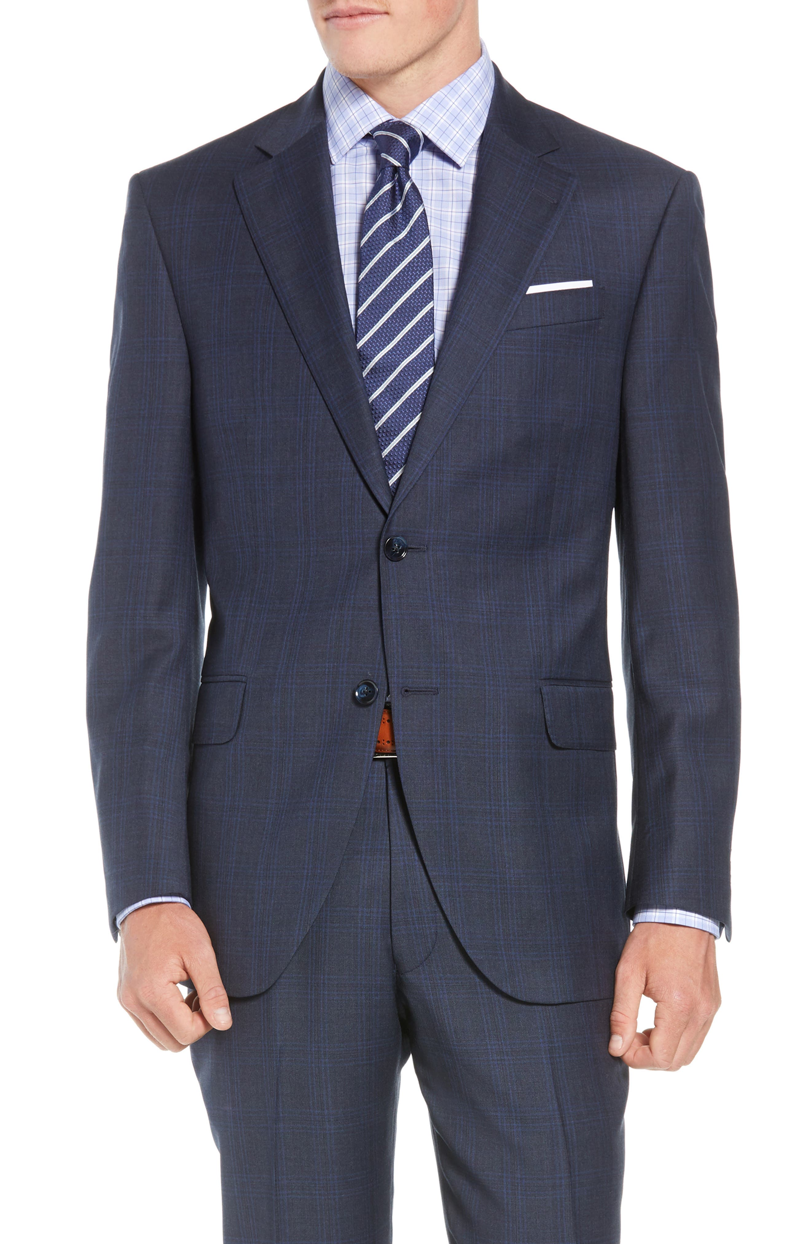 Flynn Classic Fit Plaid Wool Suit,                             Alternate thumbnail 5, color,                             NAVY