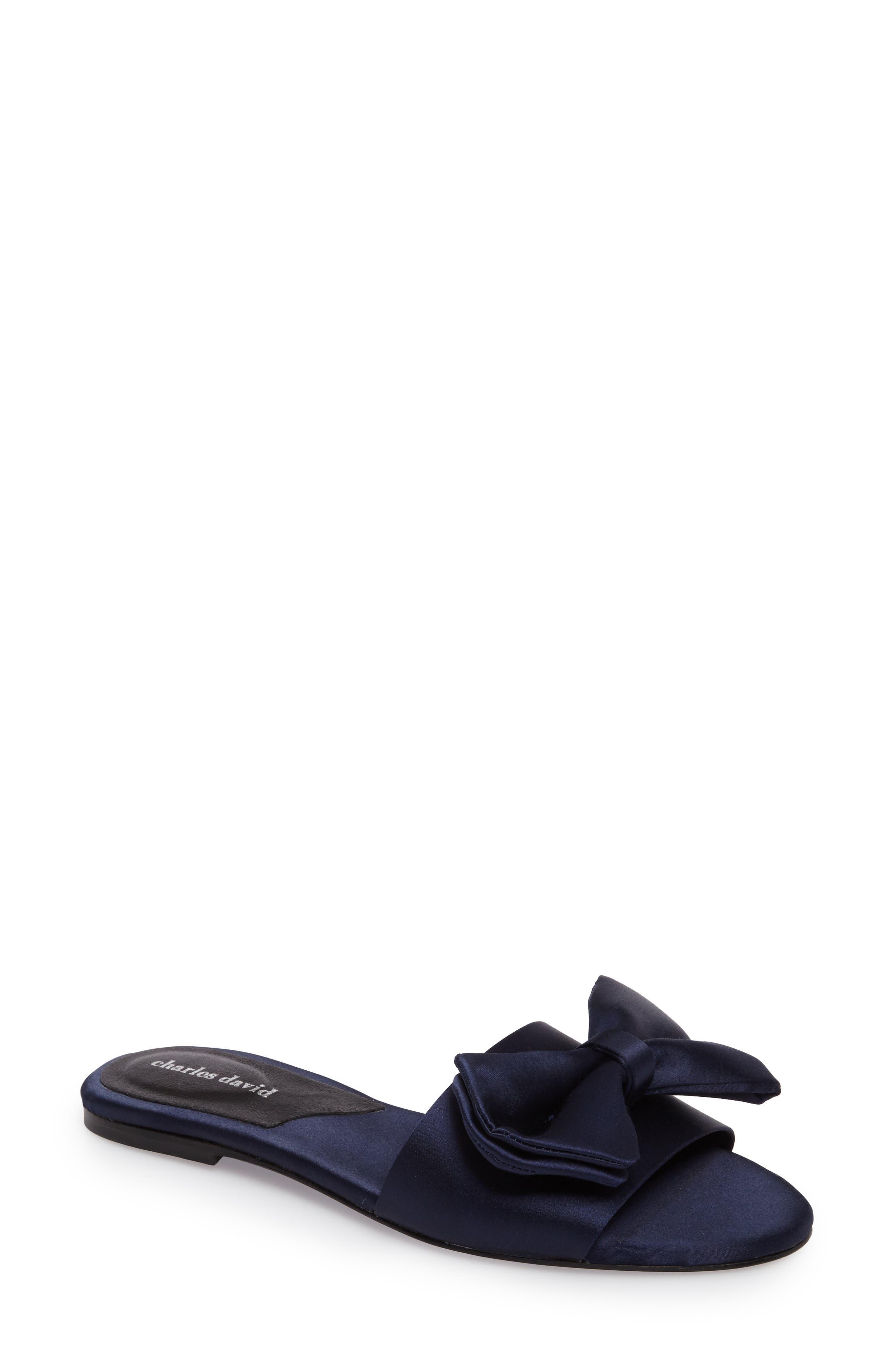 Bow Slide Sandal,                         Main,                         color, NAVY SATIN