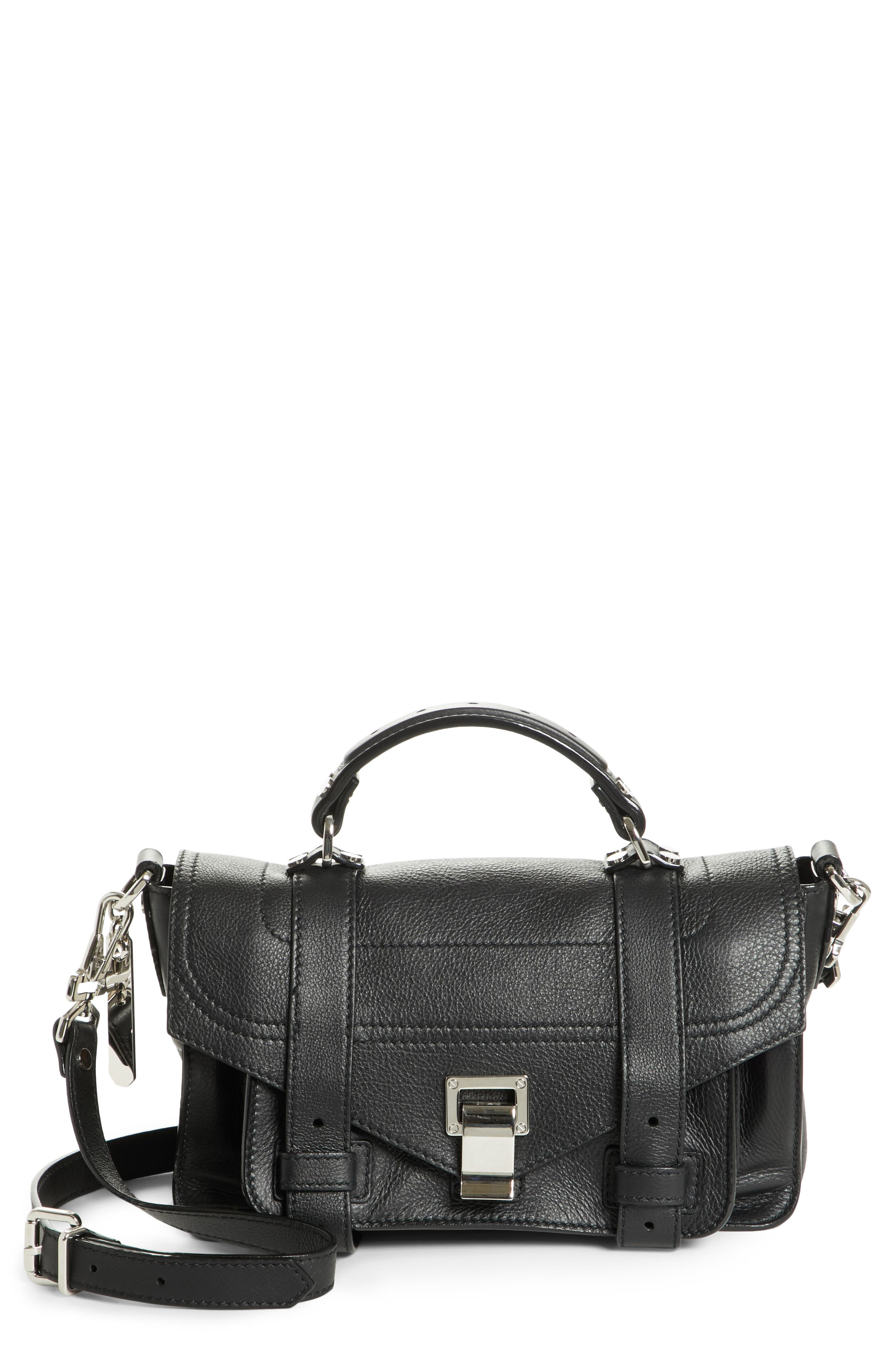 Tiny PS1 Grainy Leather Satchel,                         Main,                         color, BLACK