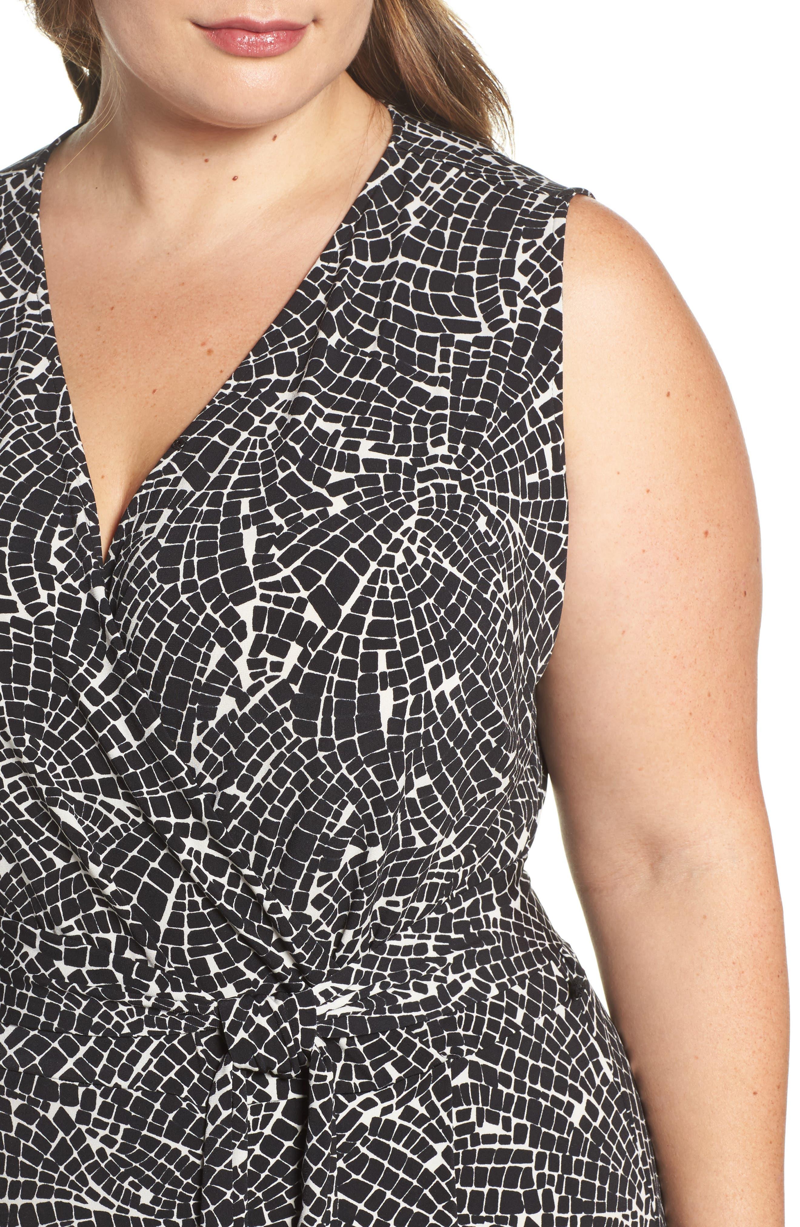 Modern Mosaic Wrap Dress,                             Alternate thumbnail 4, color,                             001