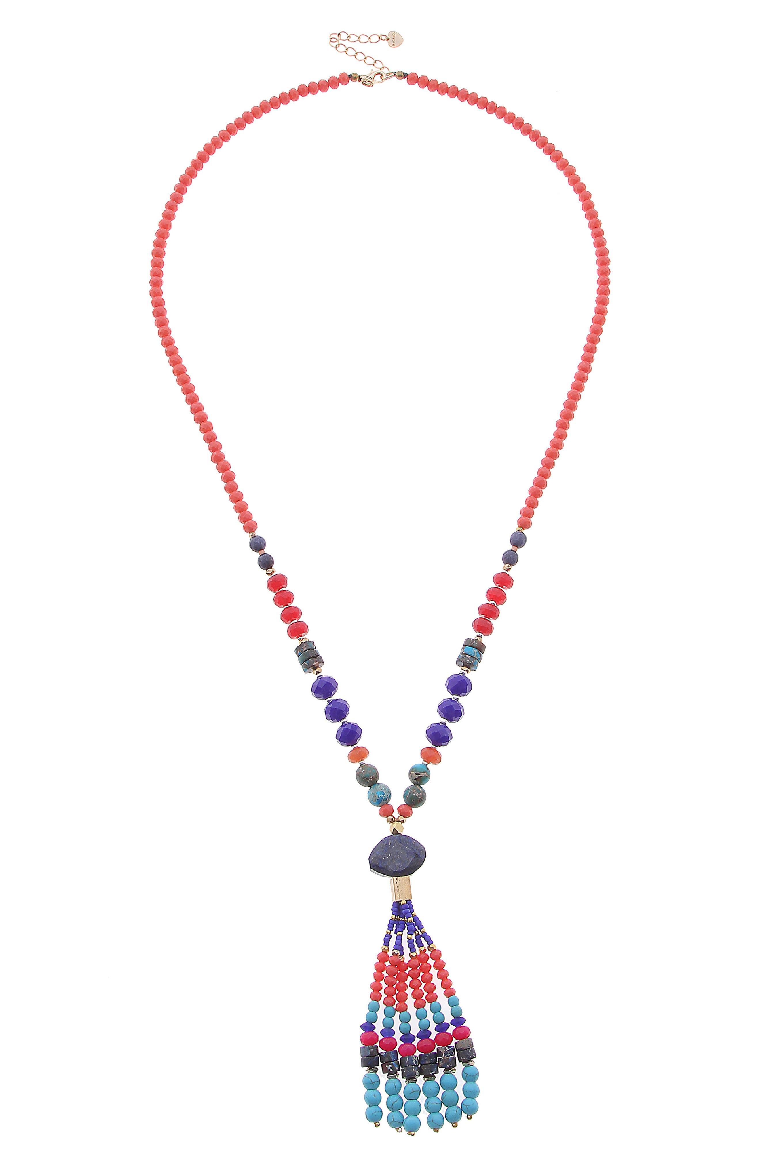 Beaded Tassel Necklace,                         Main,                         color, RED/ BLUE MULTI