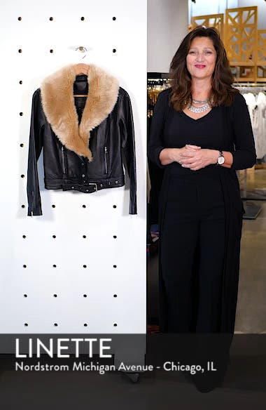 Rizza Lambskin Leather Moto Jacket with Removable Faux Fur Collar, sales video thumbnail