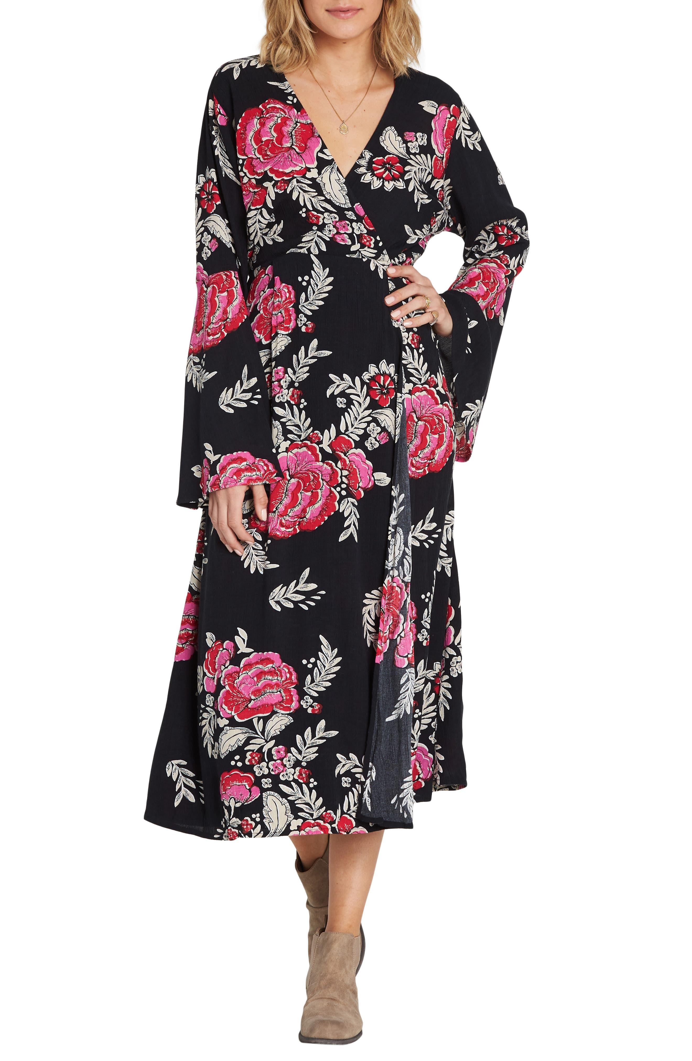 Floral Whispers Floral Midi Dress,                             Main thumbnail 1, color,                             BLACK