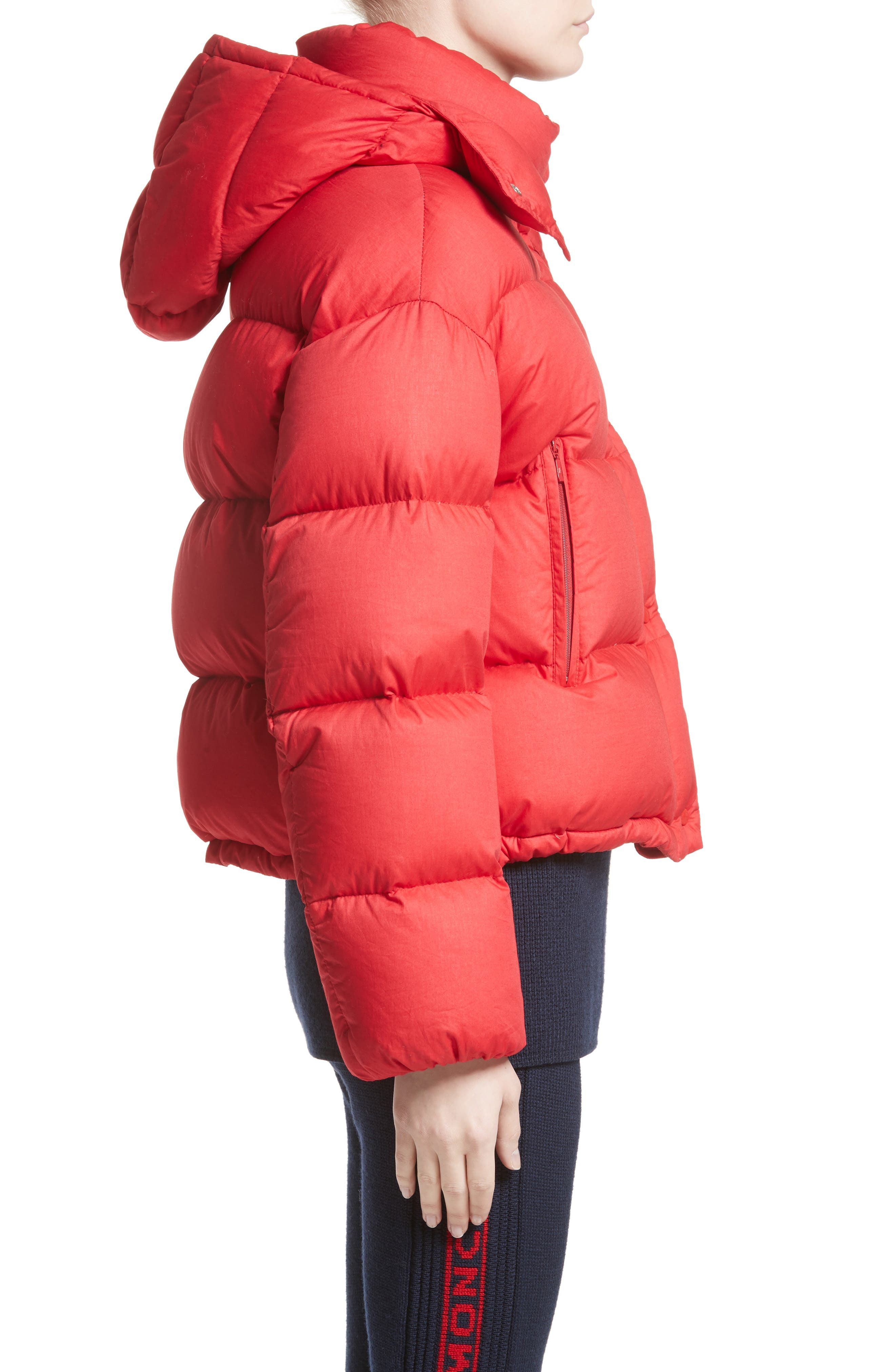 Paeonia Quilted Puffer Jacket,                             Alternate thumbnail 3, color,                             RED