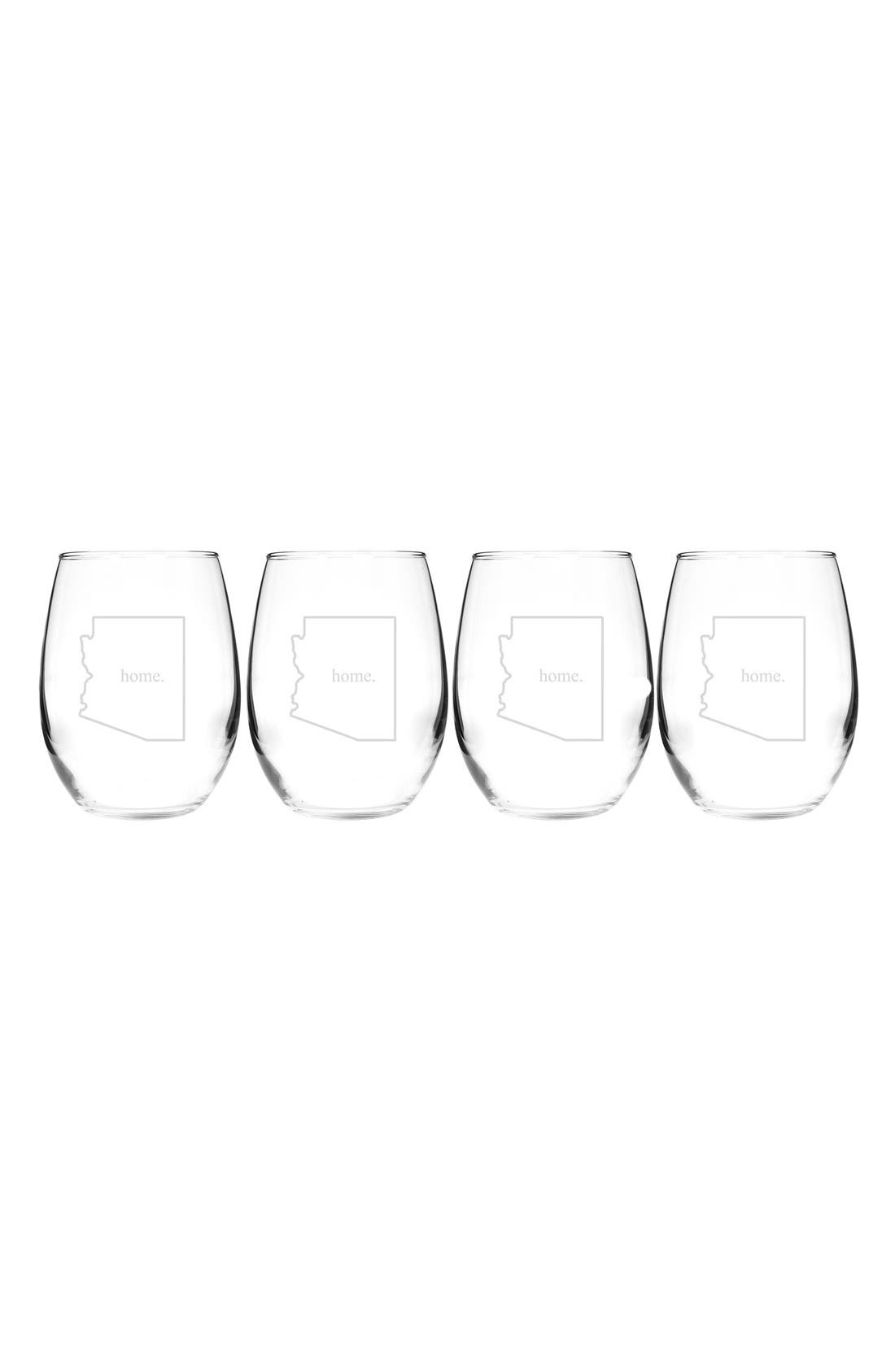 Home State Set of 4 Stemless Wine Glasses,                             Main thumbnail 5, color,