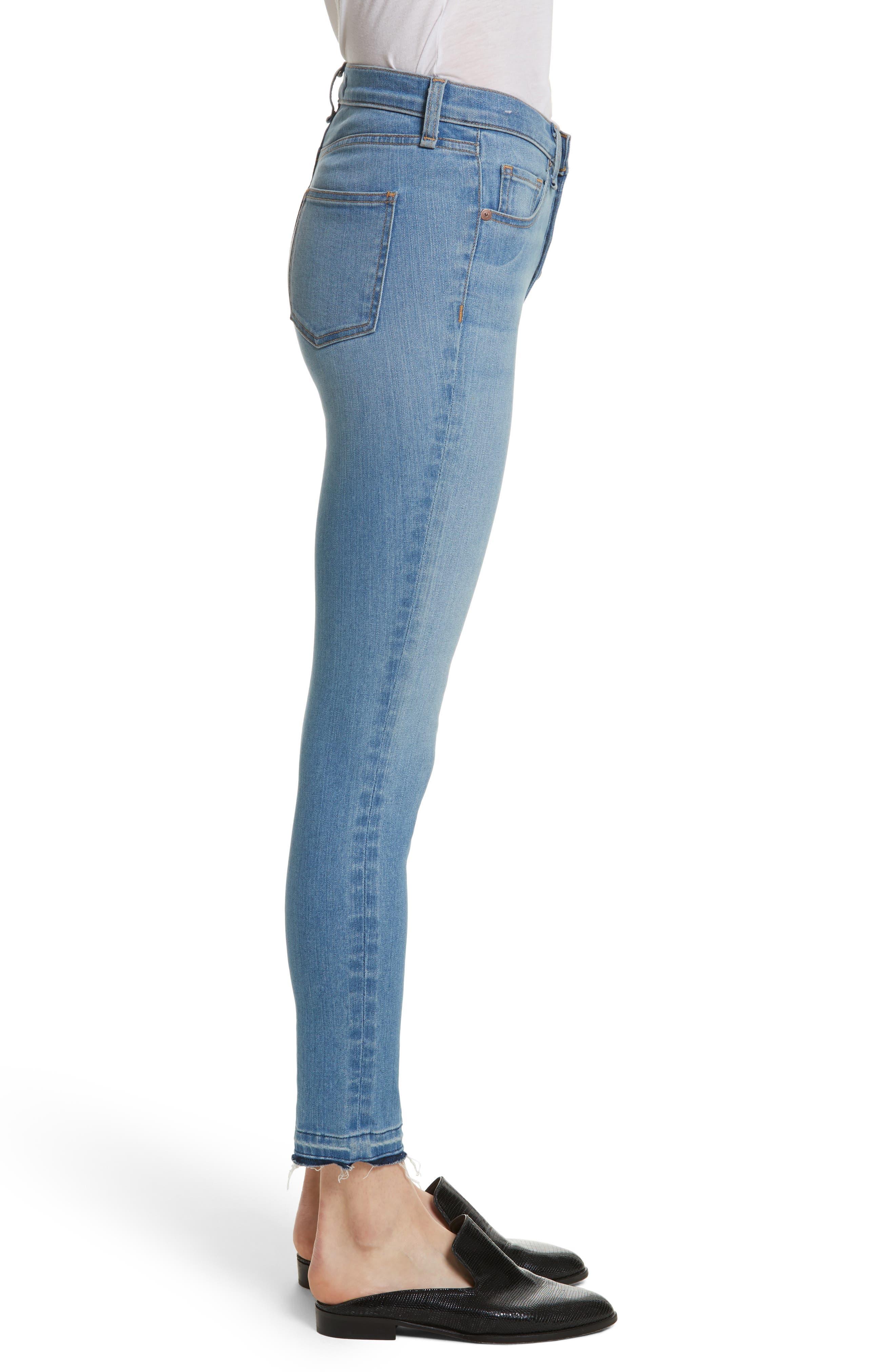 Debbie High Waist Fray Hem Jeans,                             Alternate thumbnail 3, color,