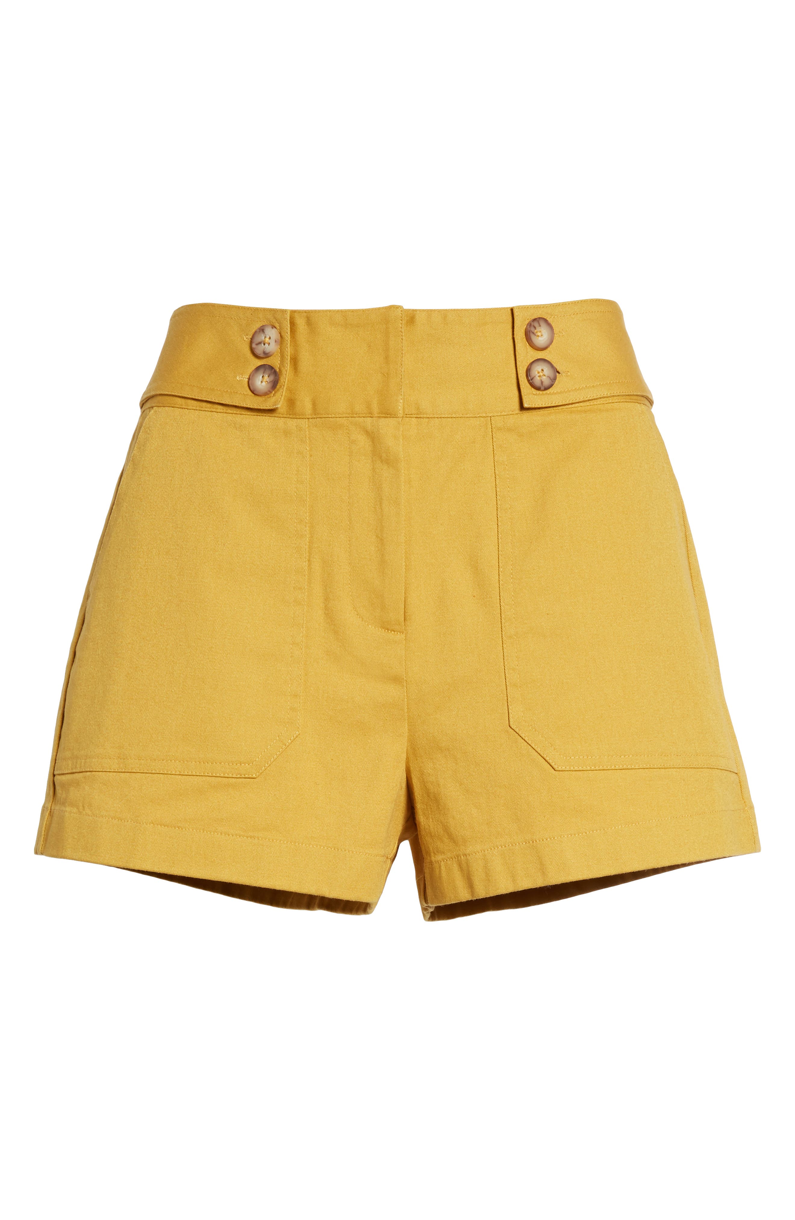 High Waist Sailor Shorts,                             Alternate thumbnail 6, color,                             MUSTARD