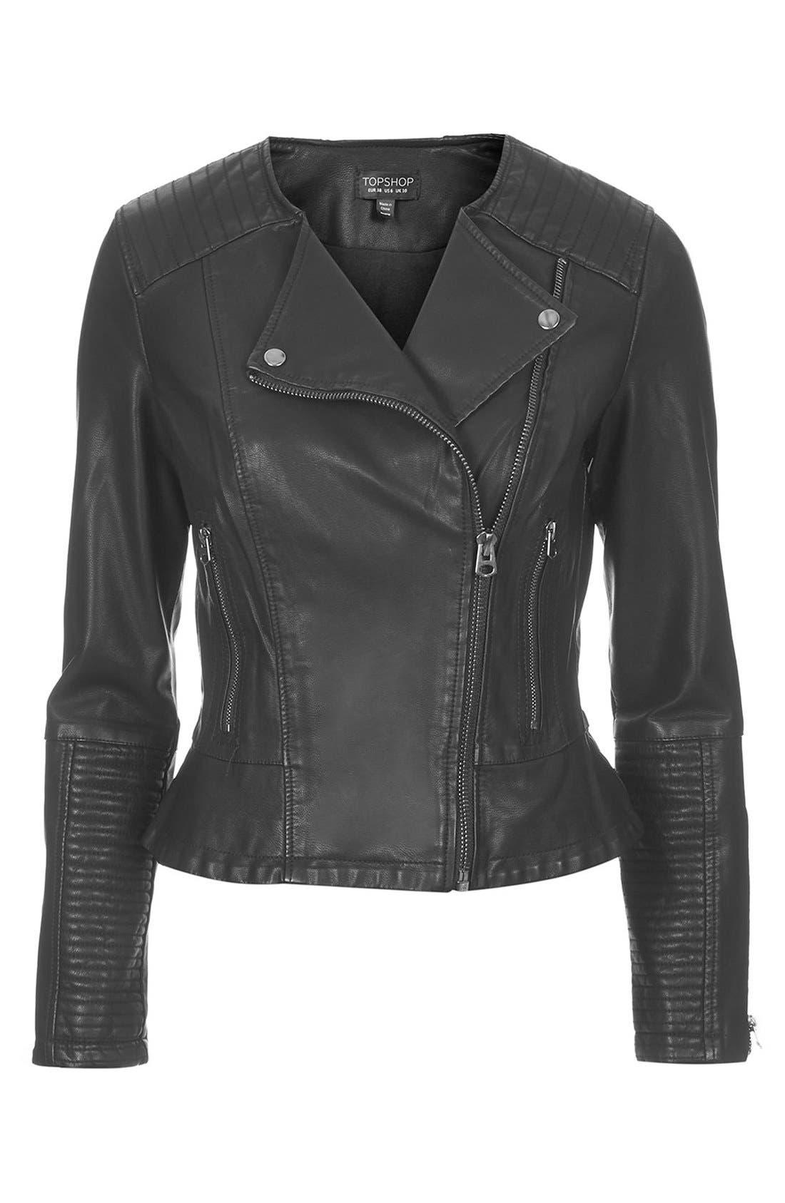 Faux Leather Biker Jacket,                             Alternate thumbnail 3, color,                             001