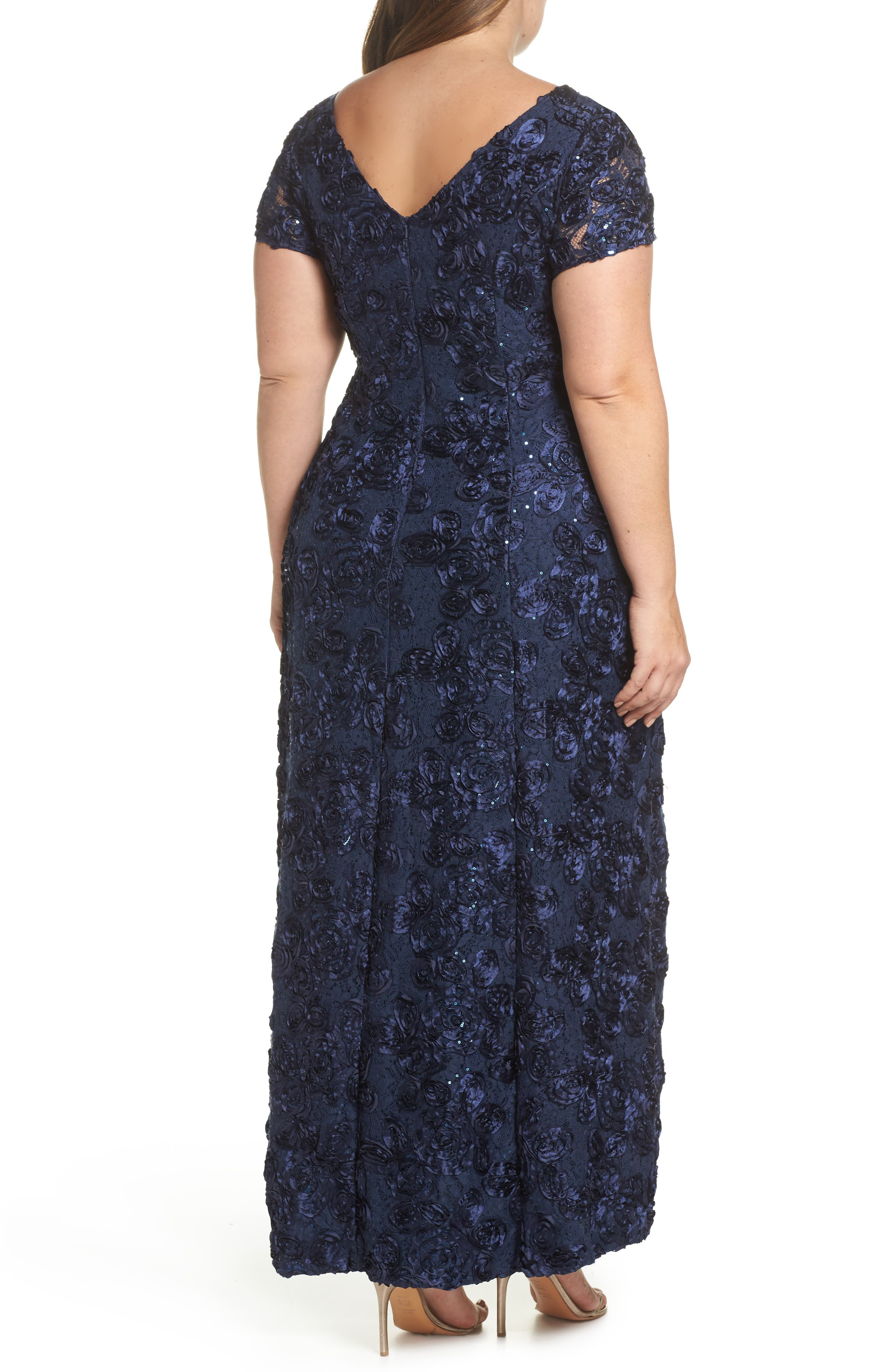 Rosette Lace Short Sleeve A-Line Gown,                             Alternate thumbnail 2, color,                             NAVY