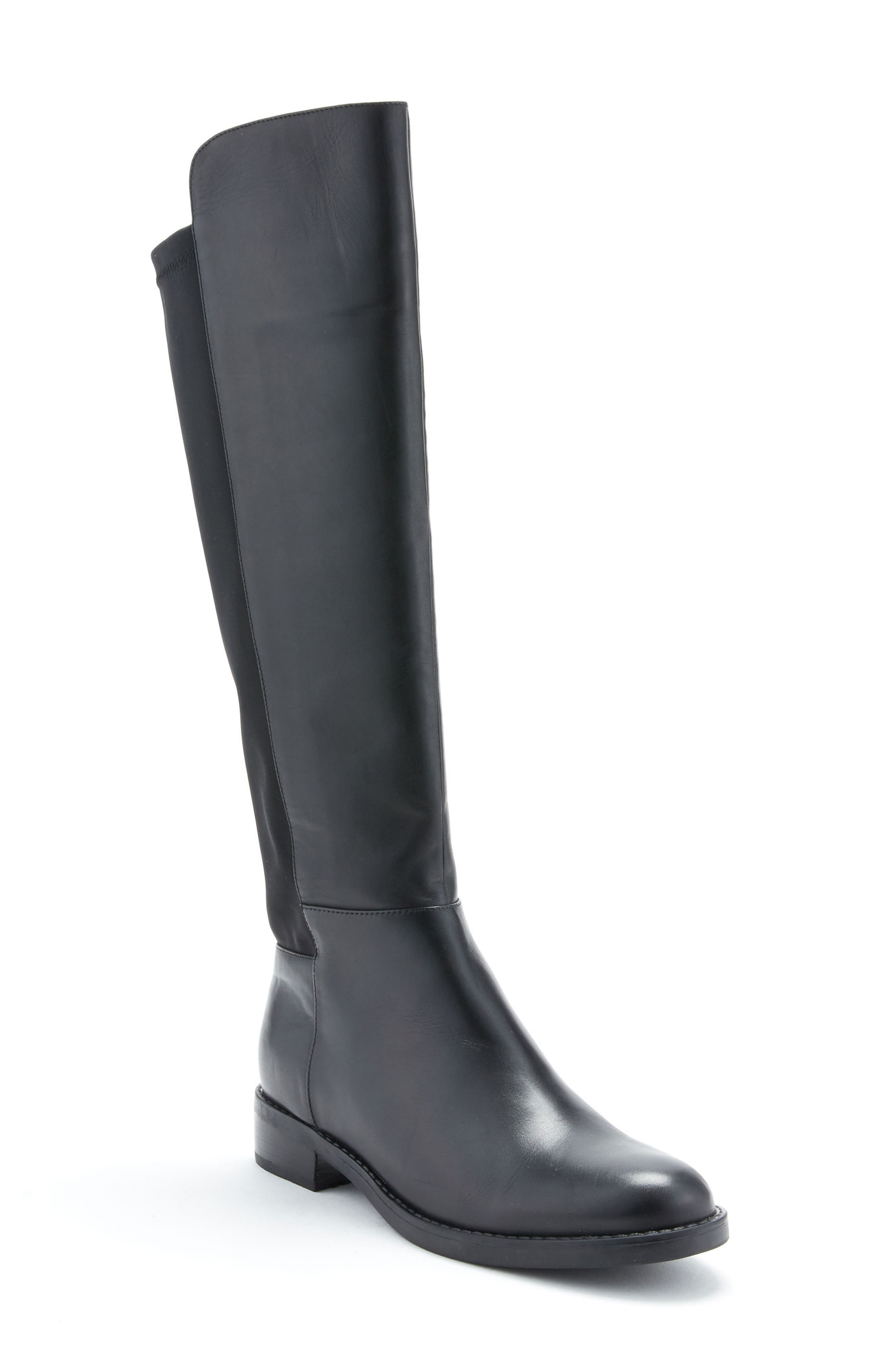 Ellie Waterproof Knee High Riding Boot,                             Main thumbnail 1, color,                             BLACK LEATHER