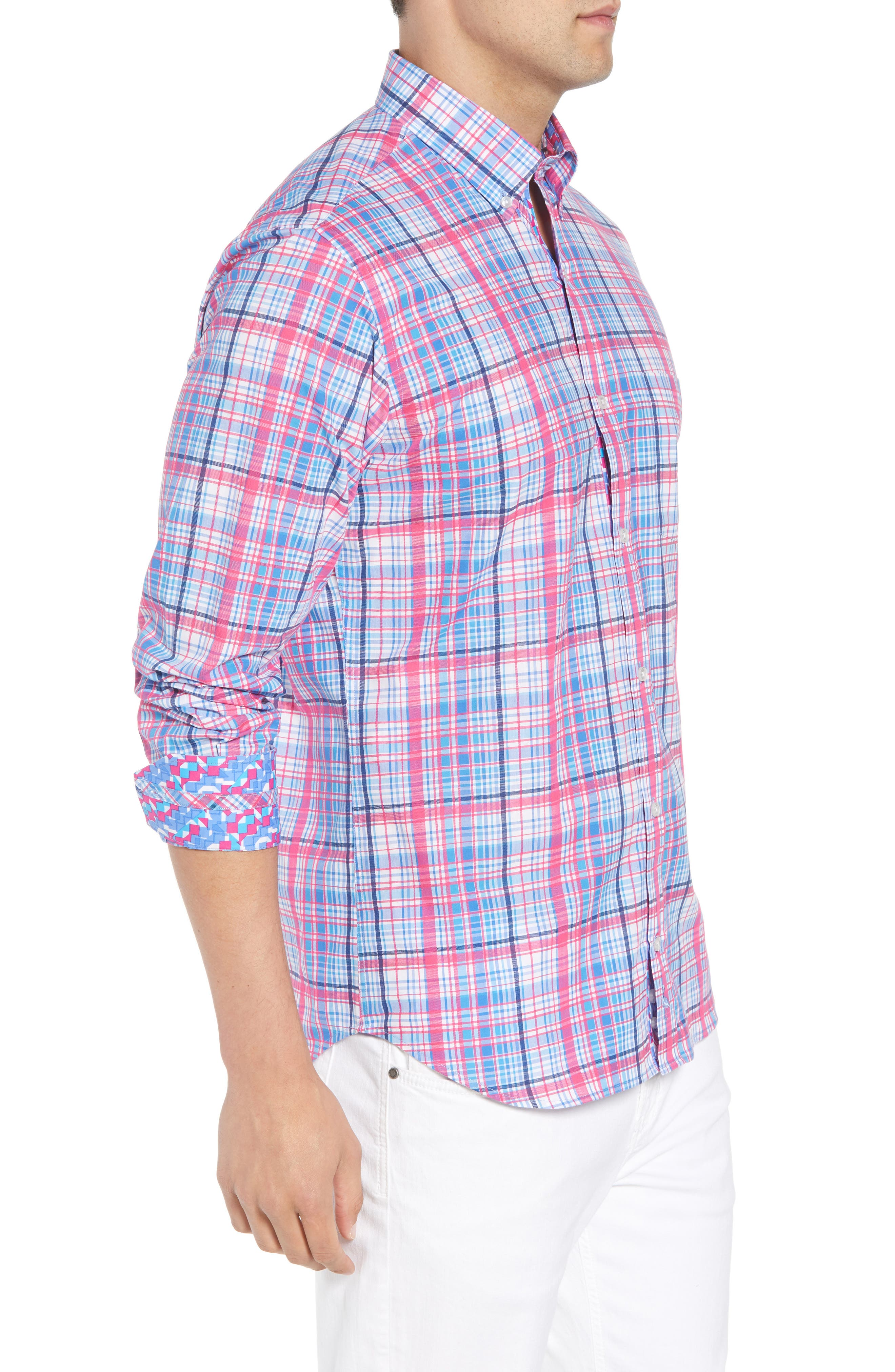 Beacon Regular Fit Plaid Sport Shirt,                             Alternate thumbnail 3, color,                             650