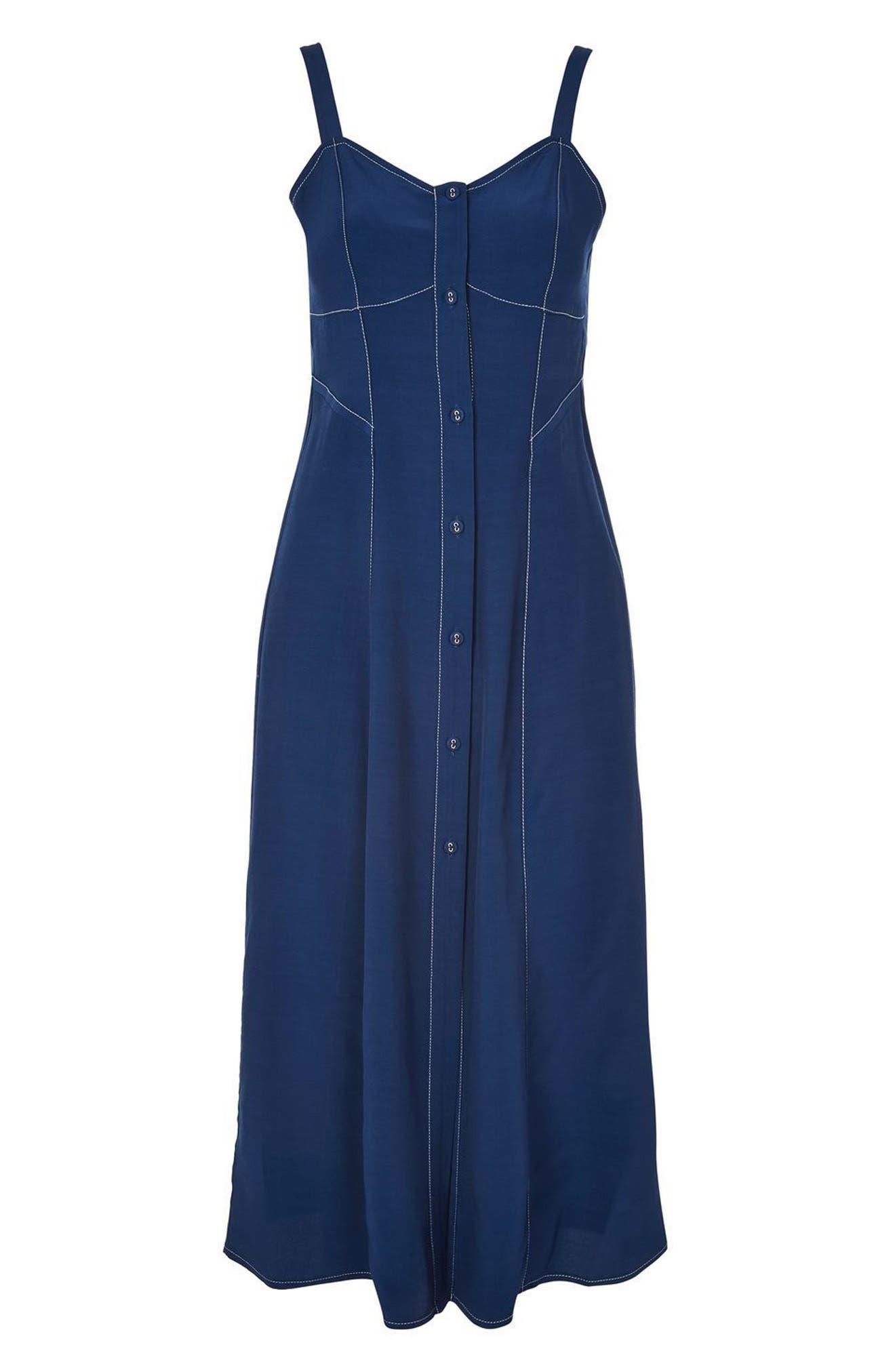 Topstitch Corset Midi Dress,                             Alternate thumbnail 3, color,                             410