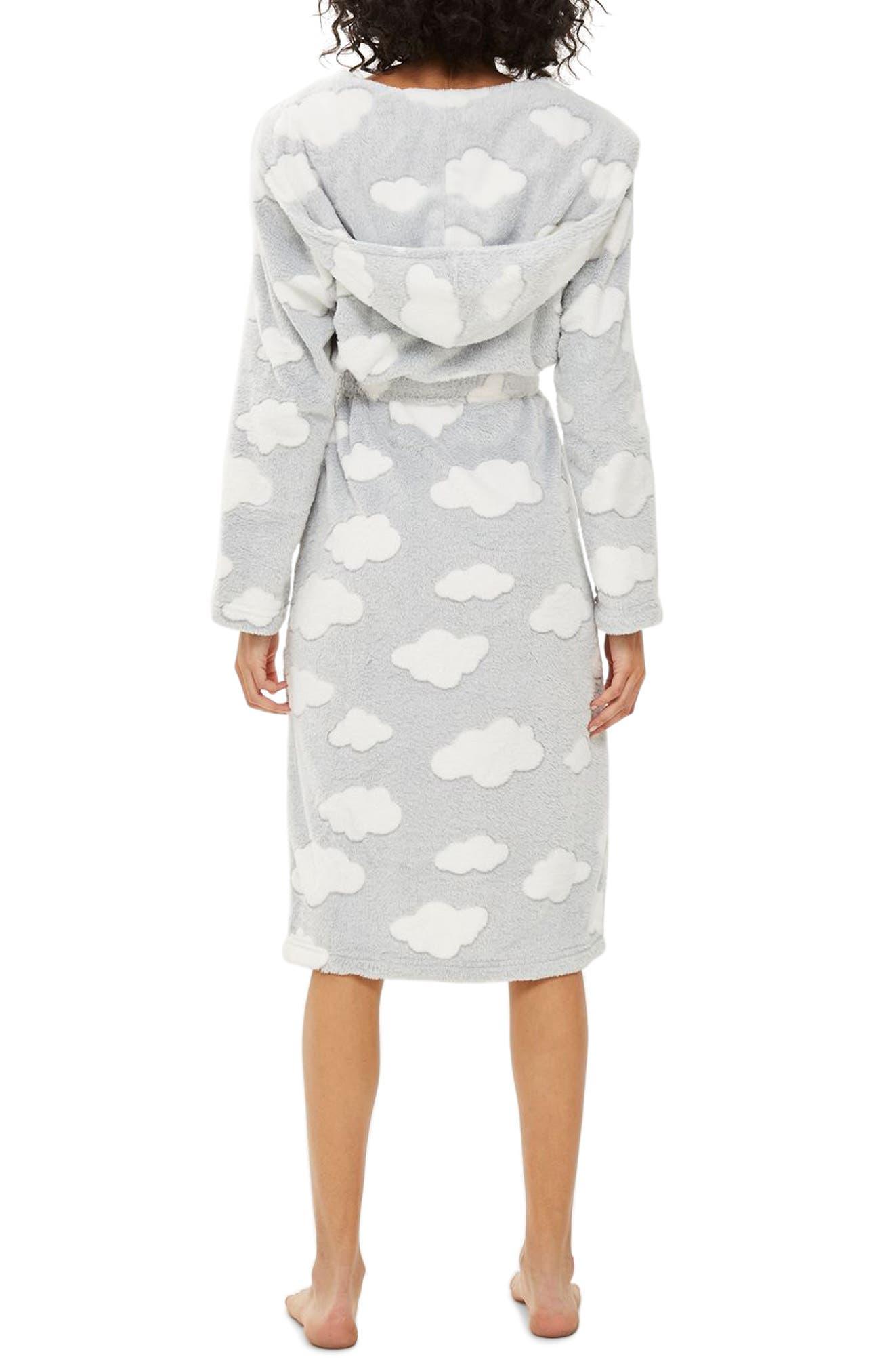 Cloud Print Longline Fleece Robe,                             Alternate thumbnail 2, color,                             020