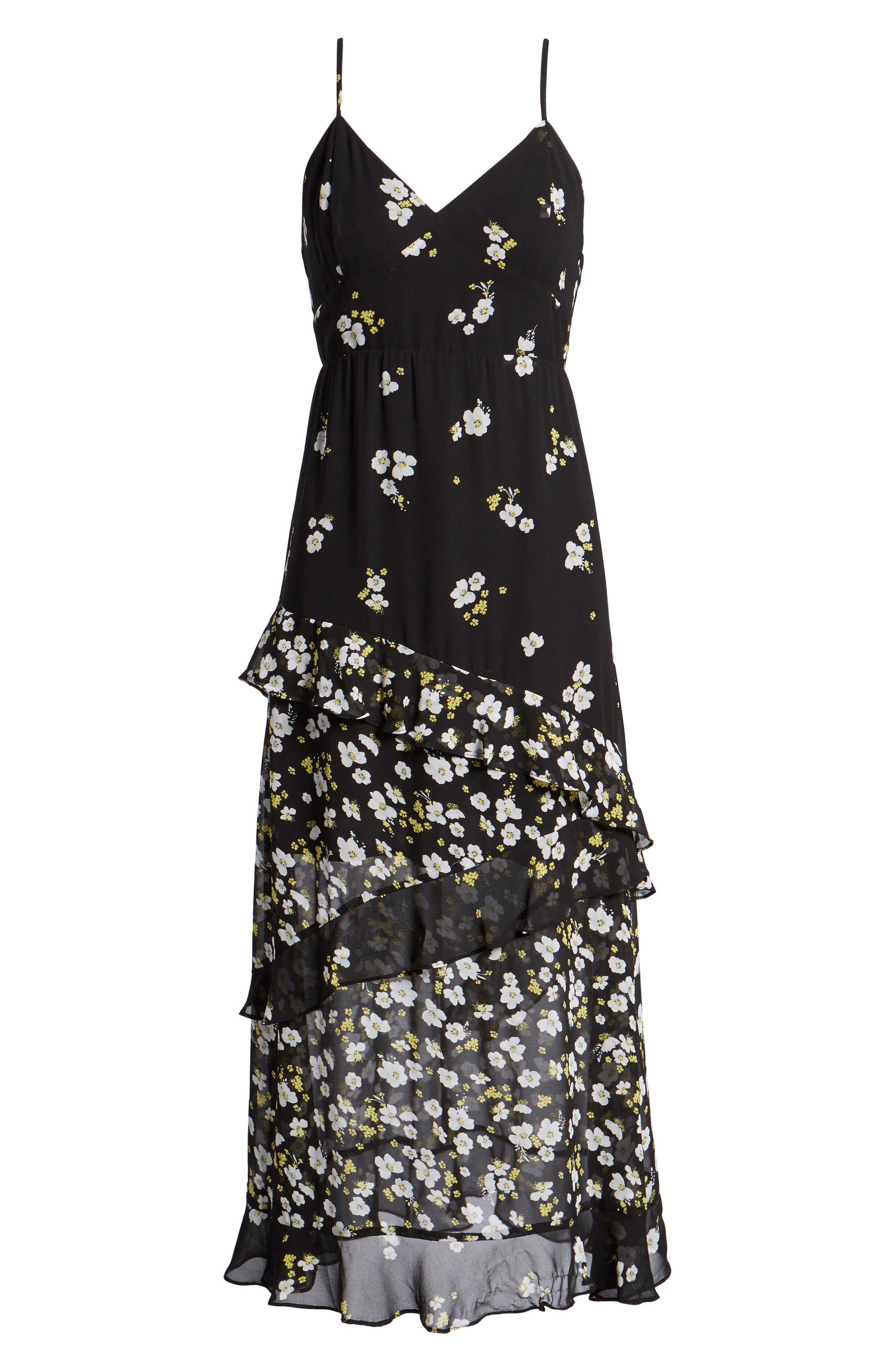Ditzy Floral & Ruffle Chiffon Dress,                             Alternate thumbnail 7, color,                             001