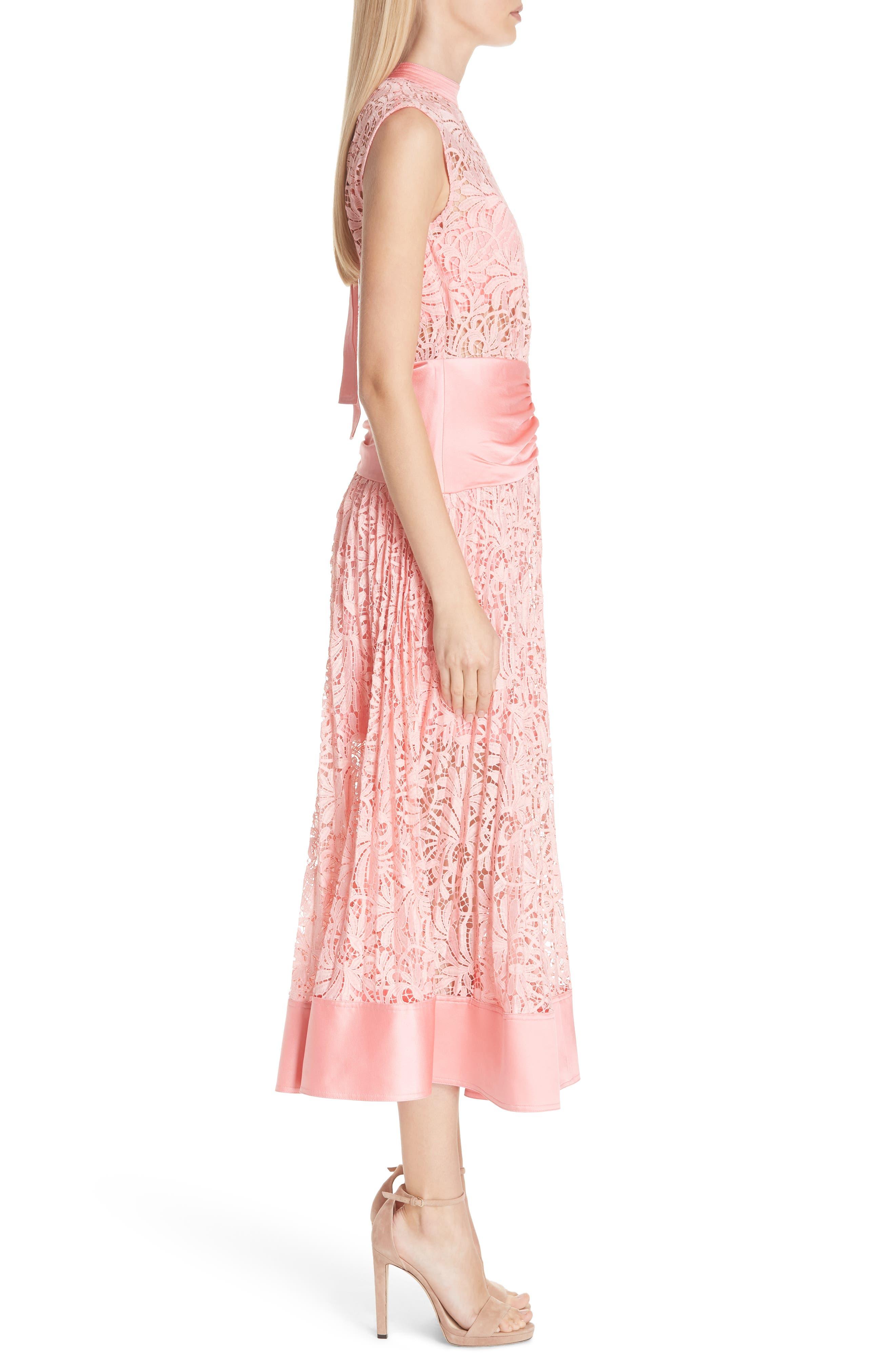 Floral Lace Sleeveless Midi Dress,                             Alternate thumbnail 3, color,                             650