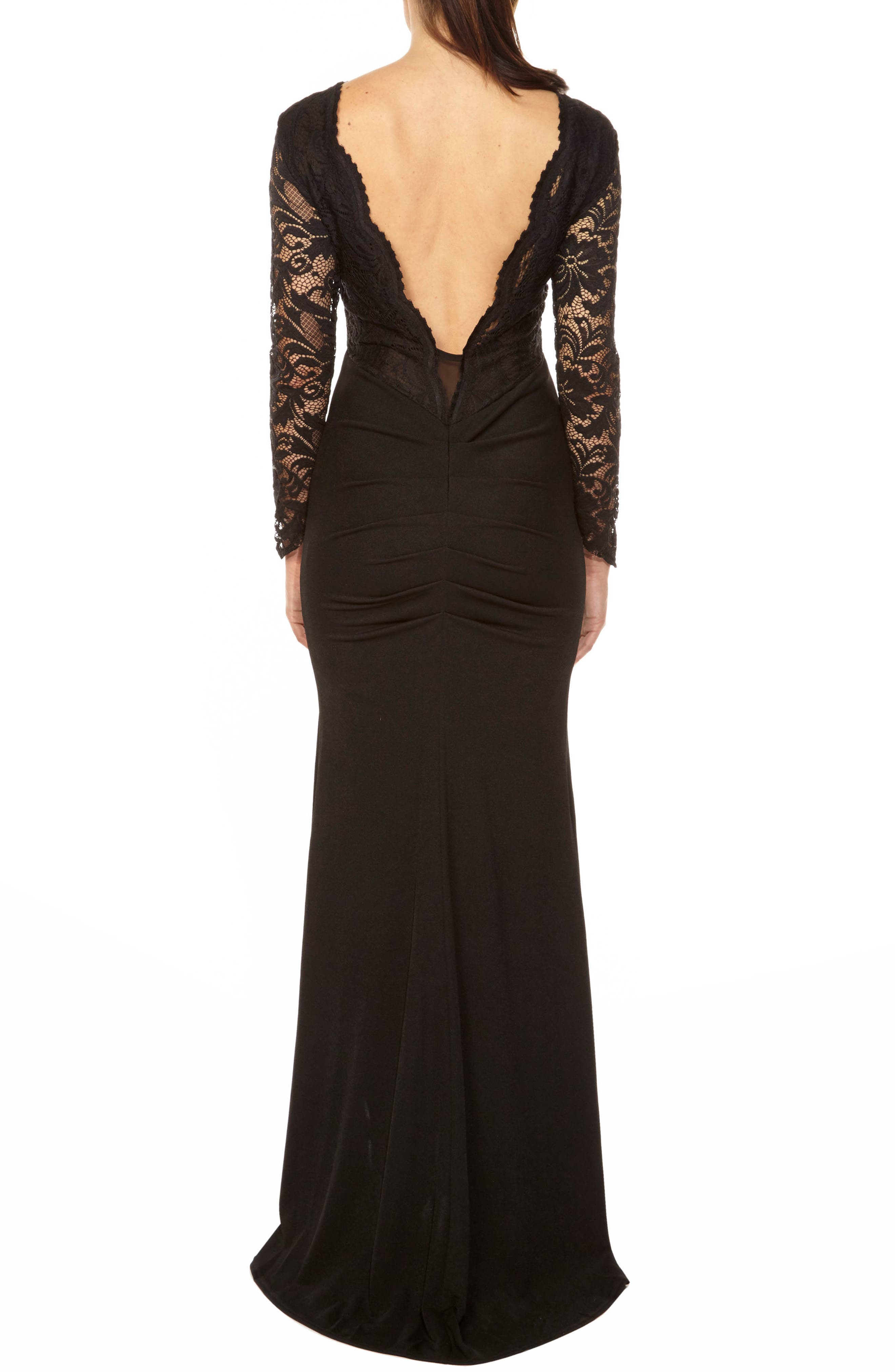 Seraphina Lace Gown,                             Alternate thumbnail 2, color,                             BLACK