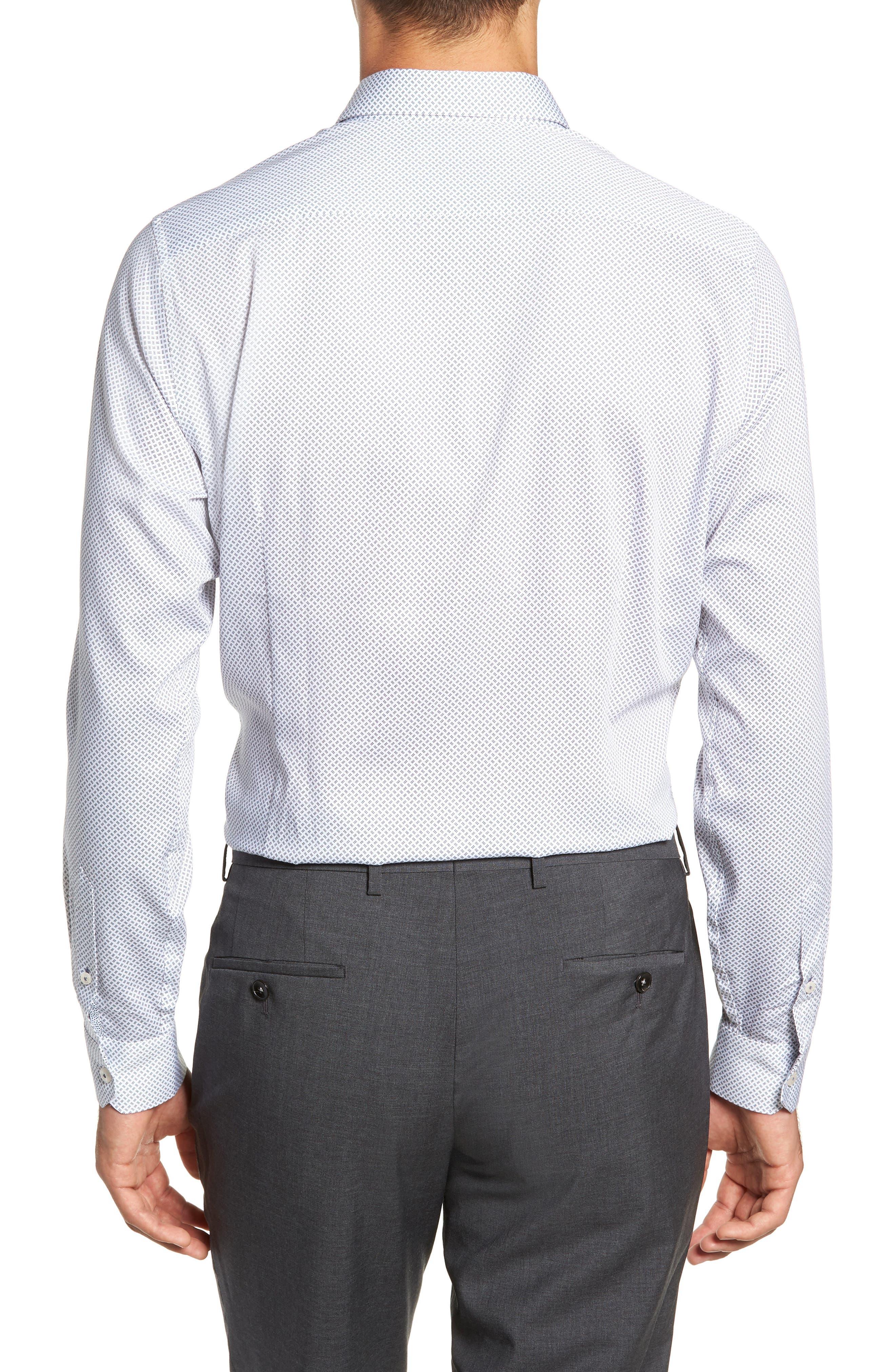Aspara Modern Fit Geometric Dress Shirt,                             Alternate thumbnail 3, color,                             WHITE/ NAVY