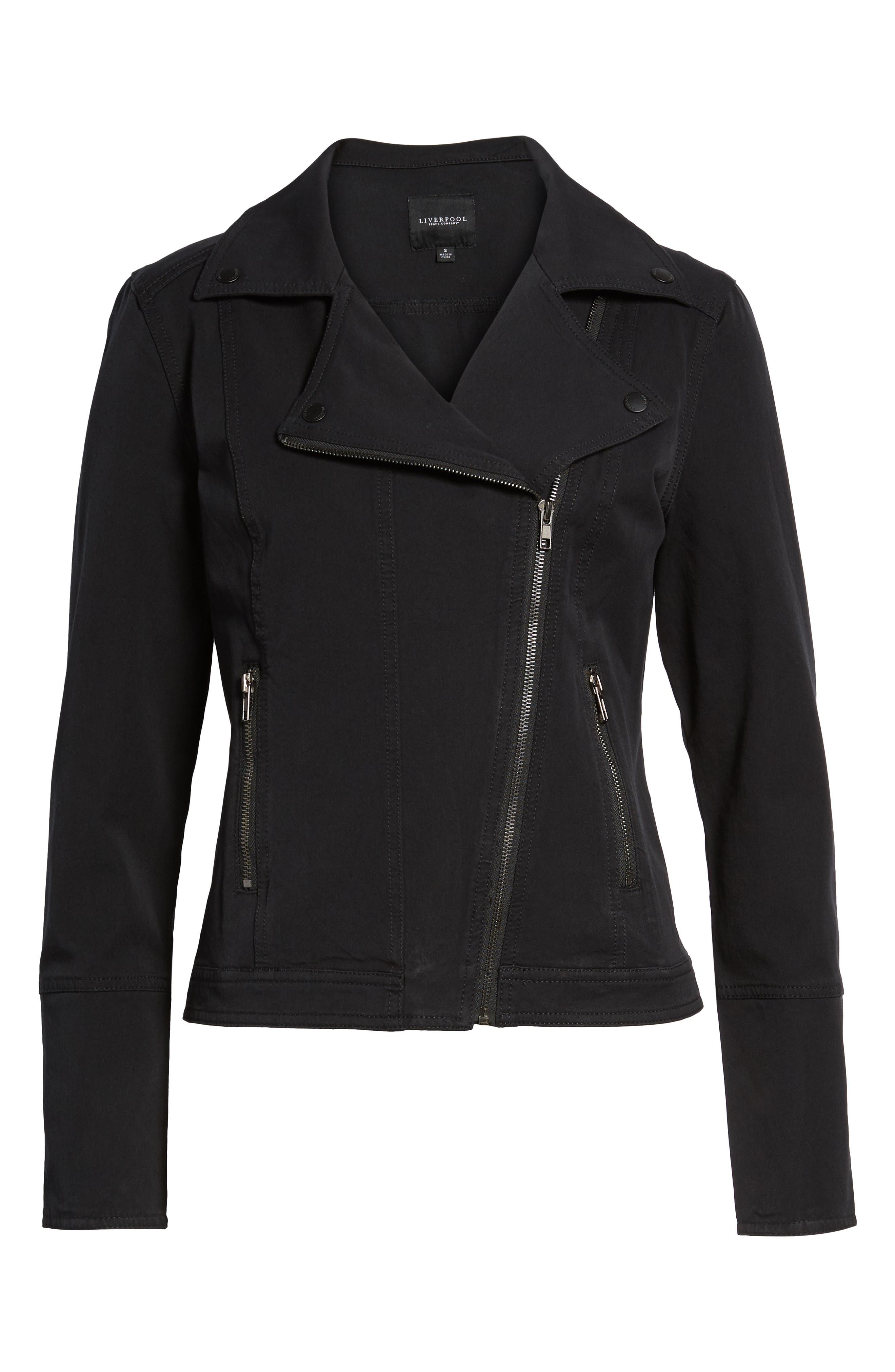 Stretch Cotton Moto Jacket,                             Alternate thumbnail 6, color,                             BLACK