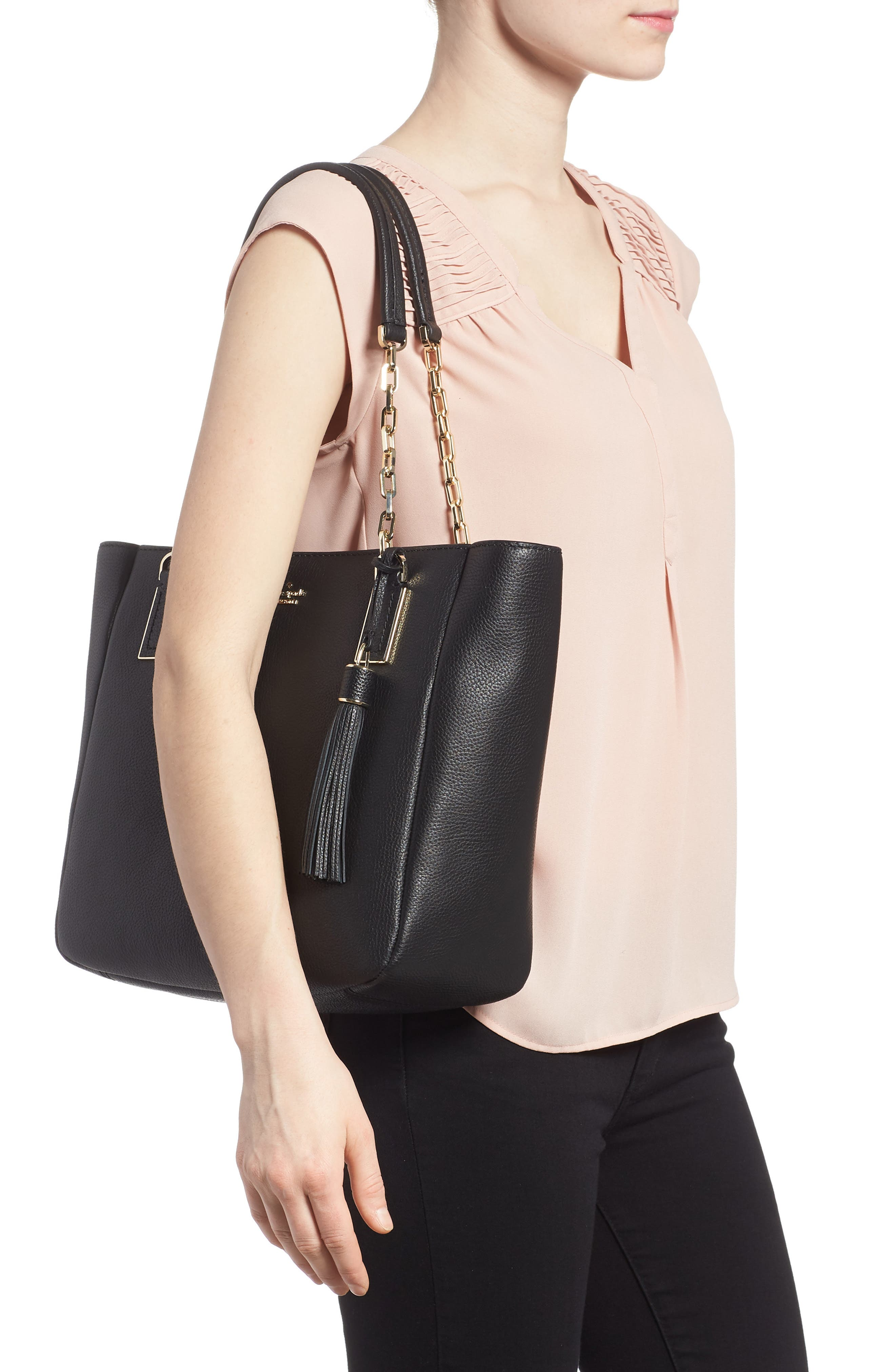 kingston drive - vivian leather tote,                             Alternate thumbnail 2, color,                             001