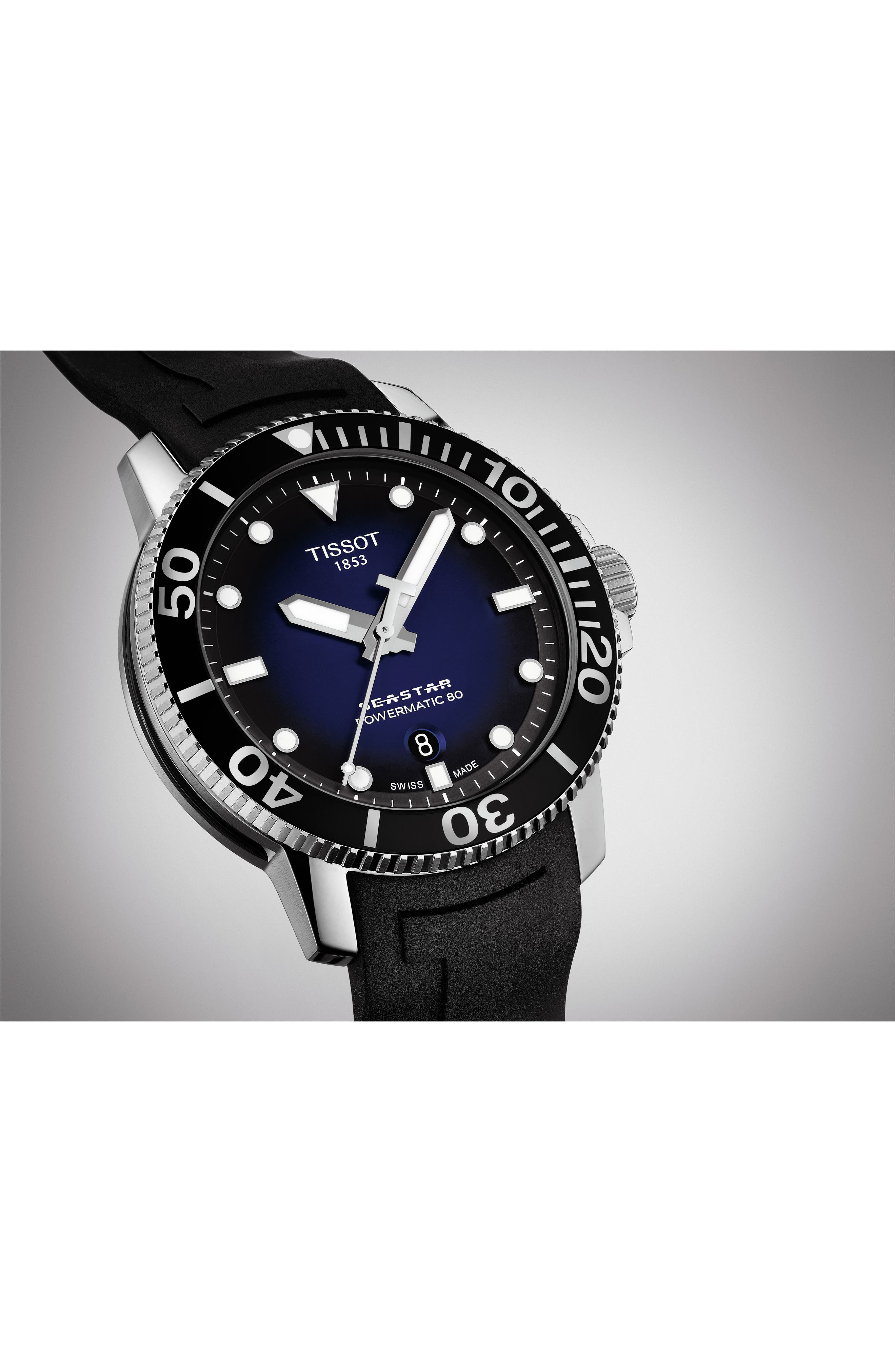 T-Sport Automatic Synthetic Strap Watch, 43mm,                             Alternate thumbnail 5, color,                             001