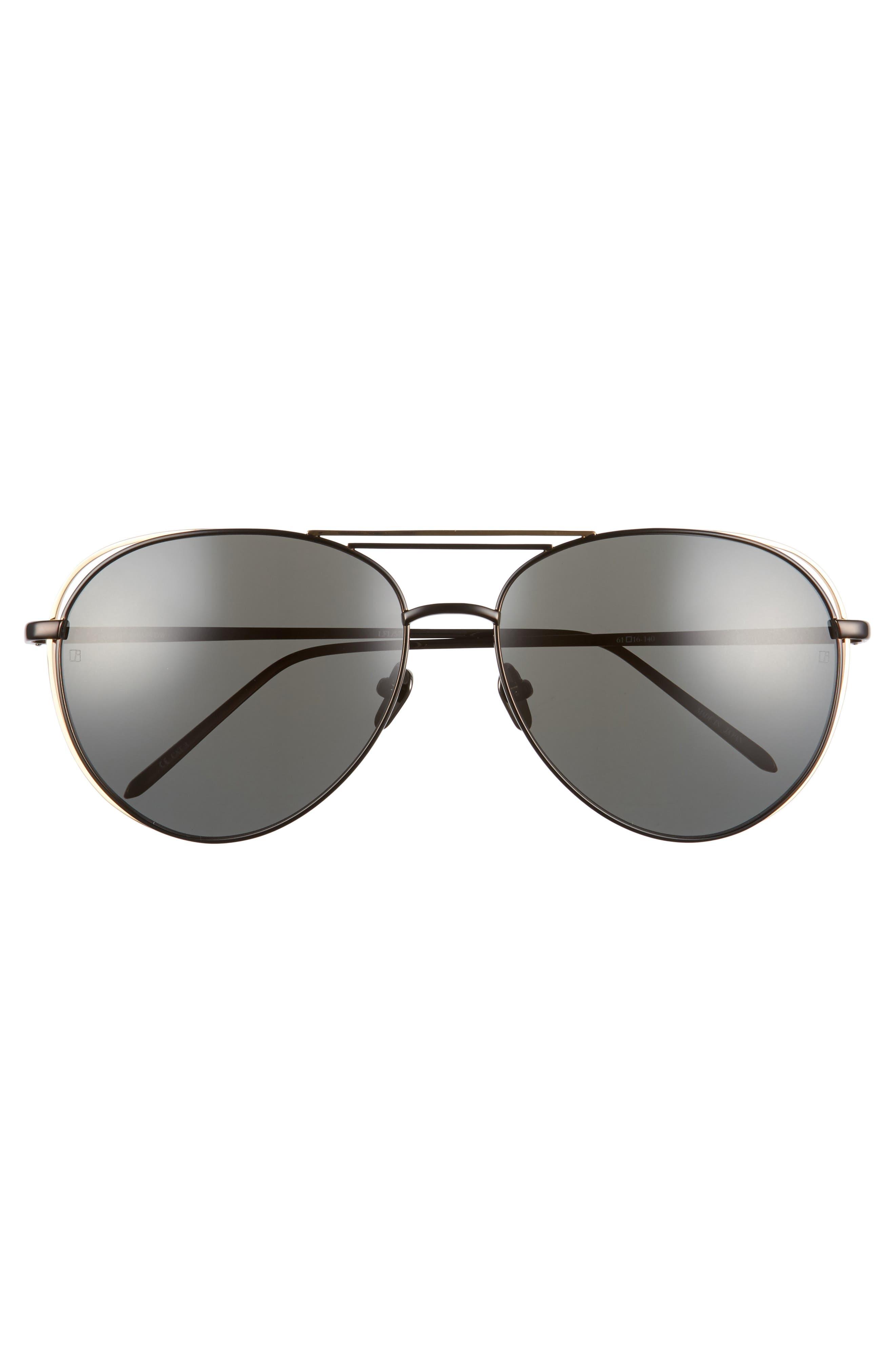 61mm 18 Karat Gold Aviator Sunglasses,                             Alternate thumbnail 7, color,