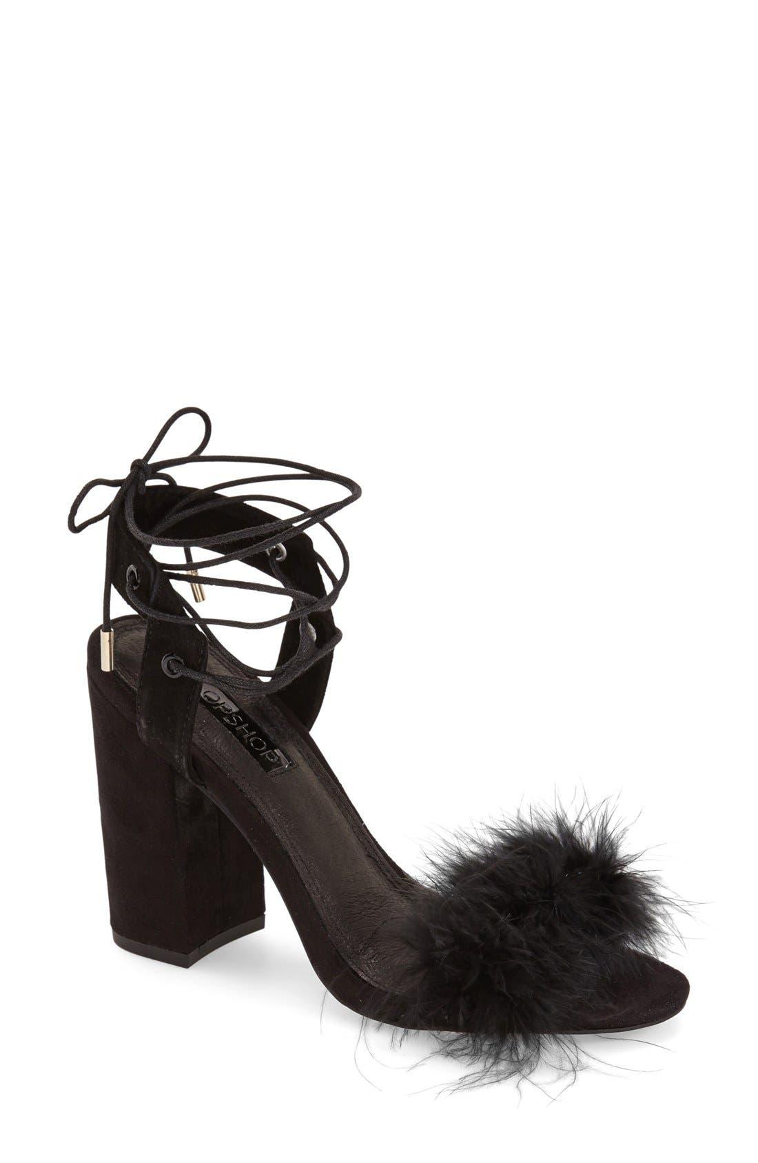 Marabou Feather Lace-Up Sandal,                         Main,                         color, 001