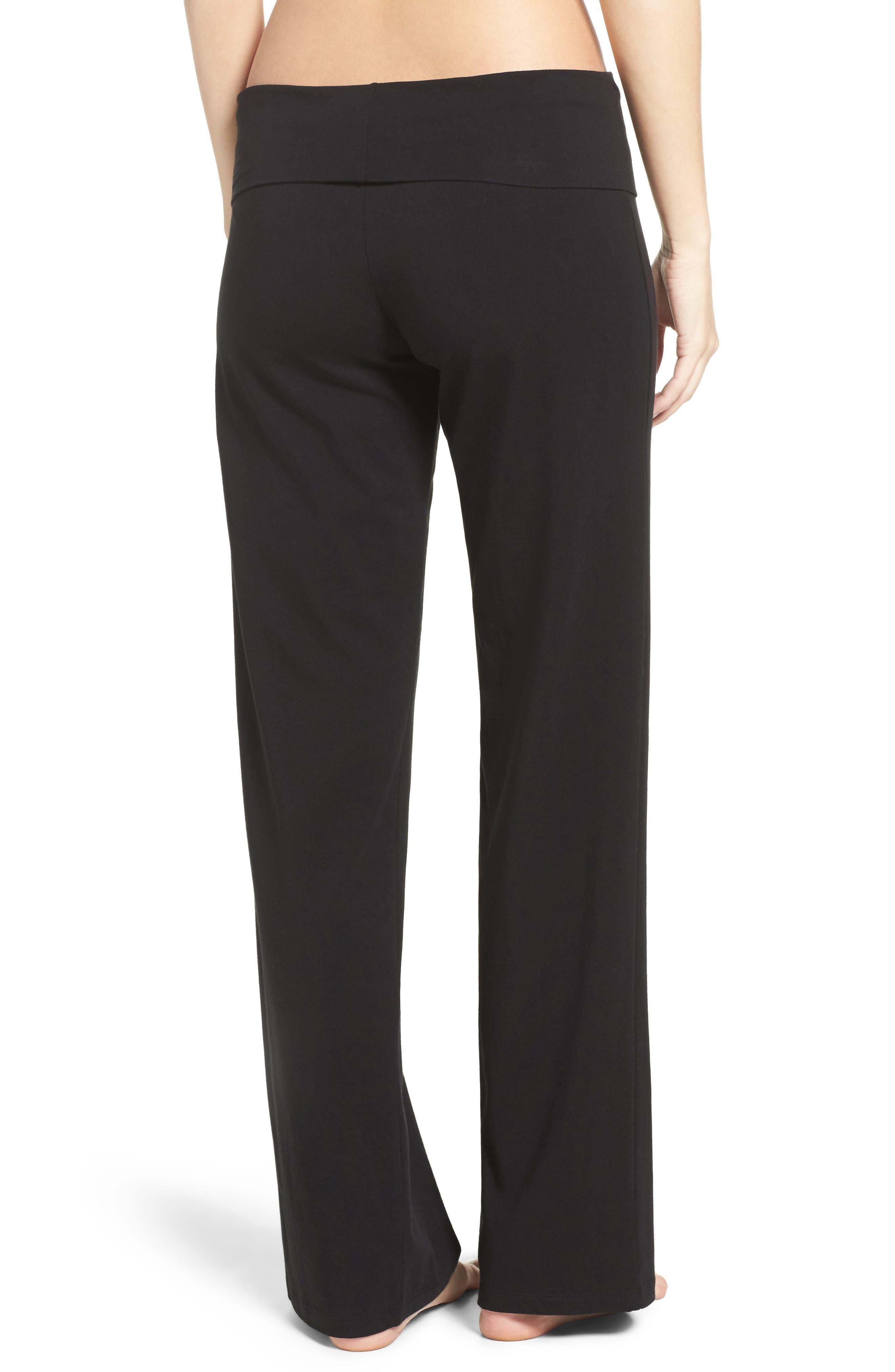 Wide Leg Stretch Cotton Pajama Pants,                             Alternate thumbnail 2, color,                             001
