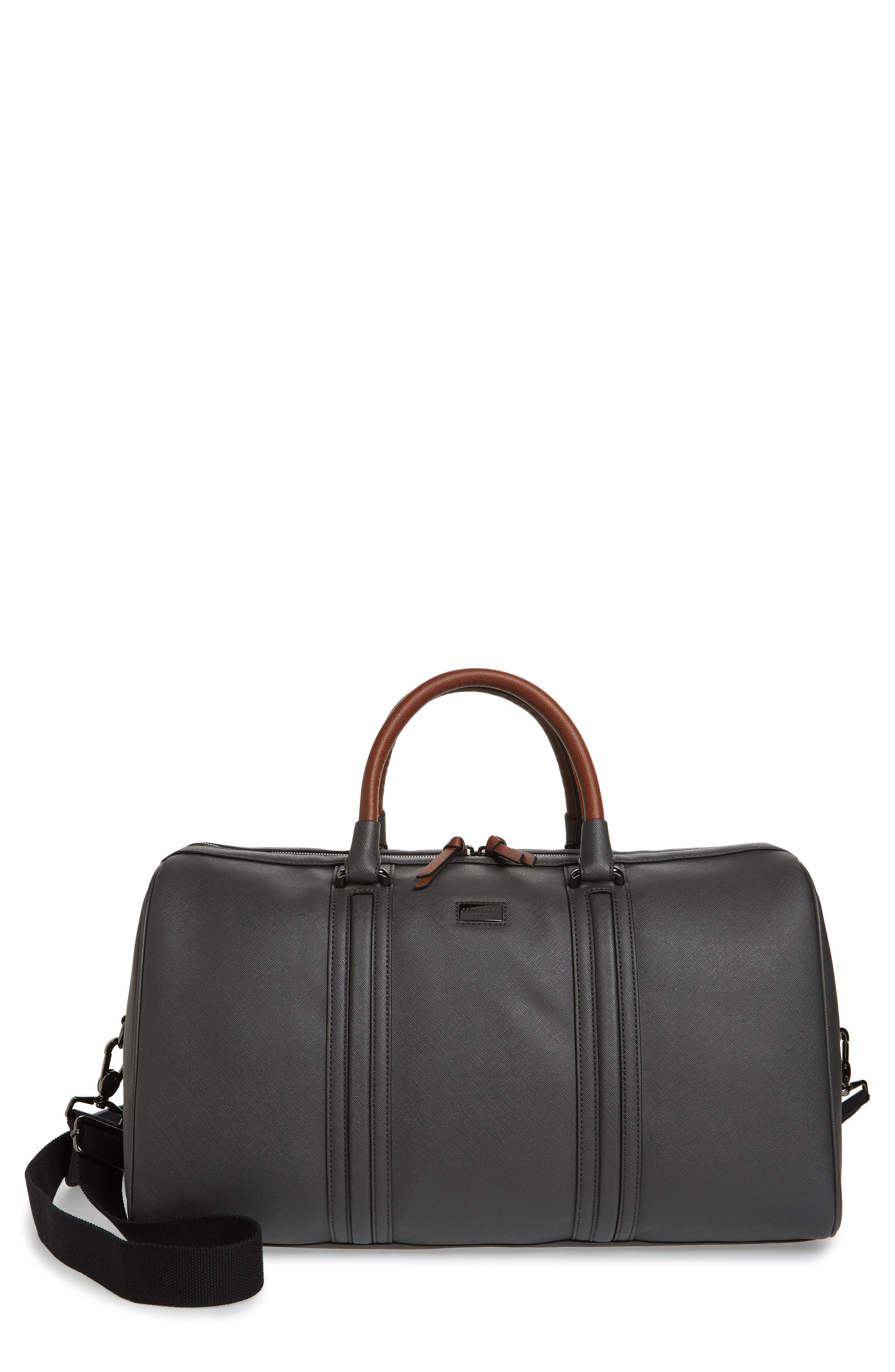 Grankan Faux Leather Duffel Bag,                         Main,                         color, CHARCOAL
