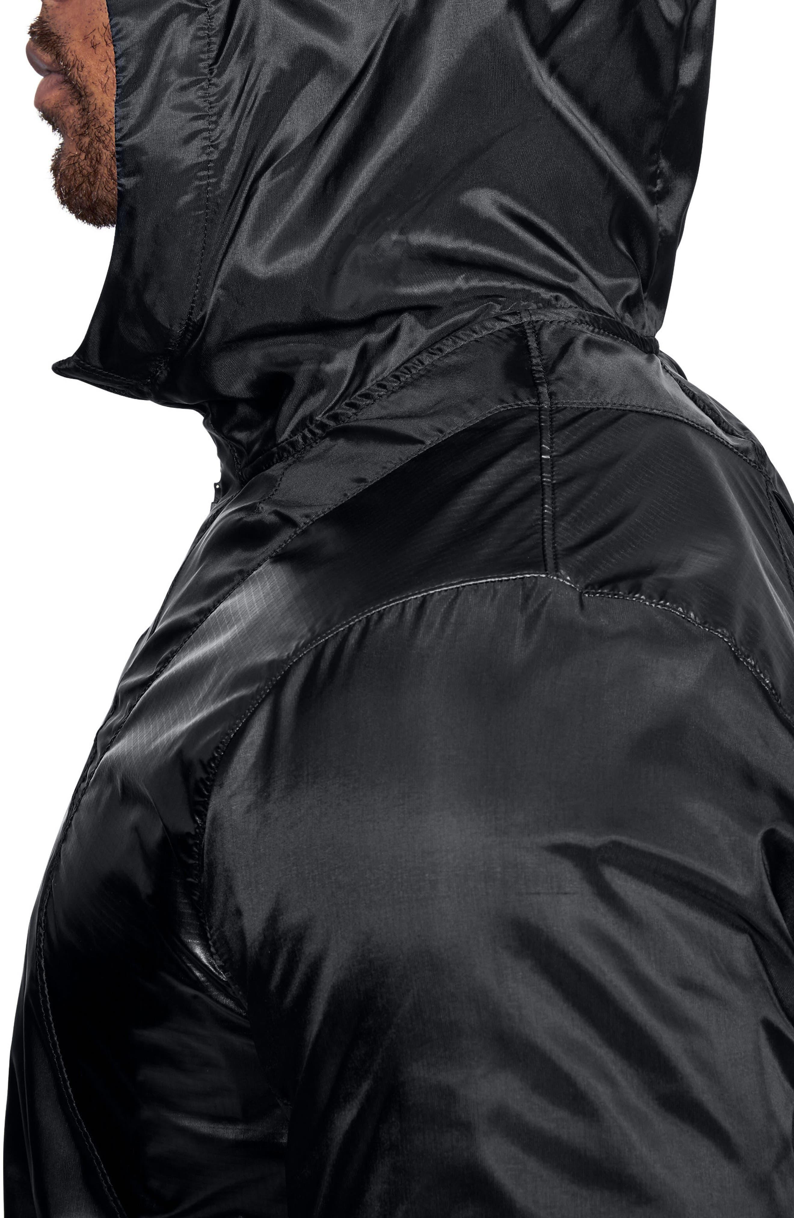 Perpetual Windproof & Water Resistant Hooded Jacket,                             Alternate thumbnail 3, color,                             BLACK/ METALLIC VICTORY GOLD