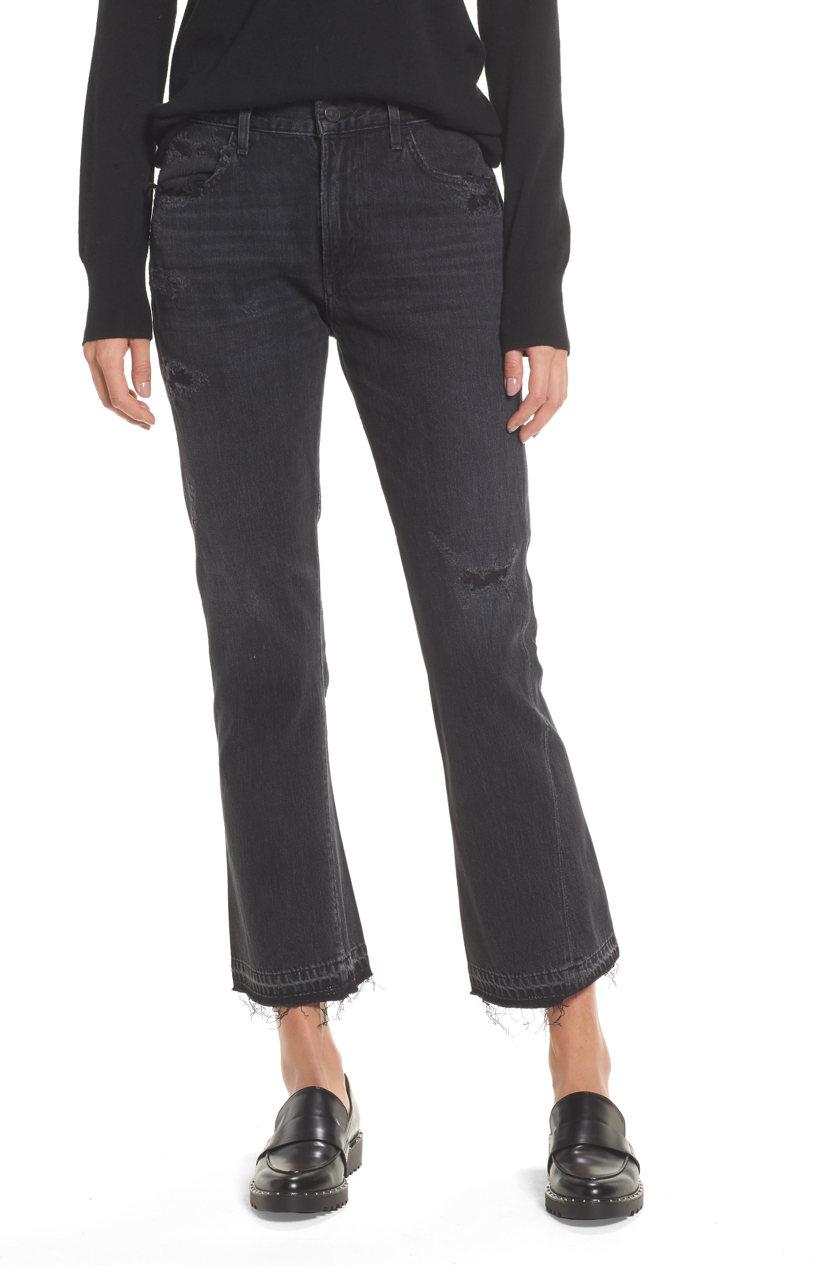 Sasha Twist Crop Jeans,                         Main,                         color, BLACK HAWK