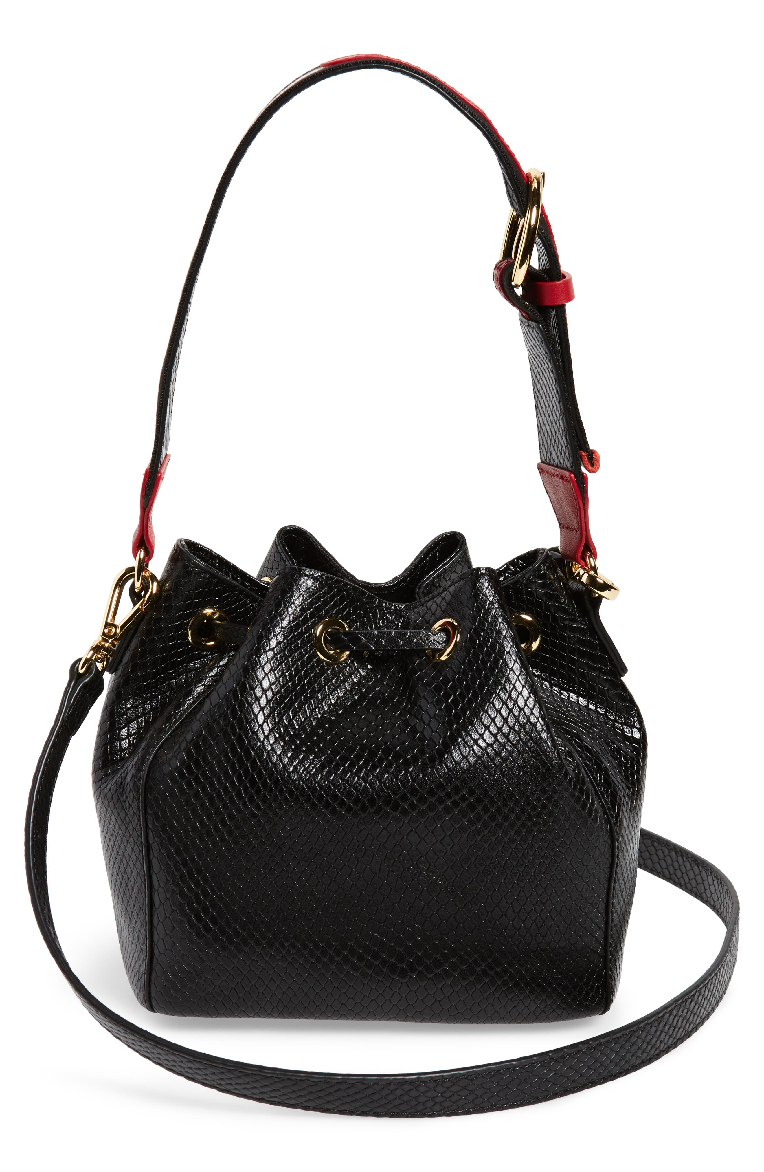 Small Snakeskin Embossed Leather Bucket Bag,                             Alternate thumbnail 3, color,                             001