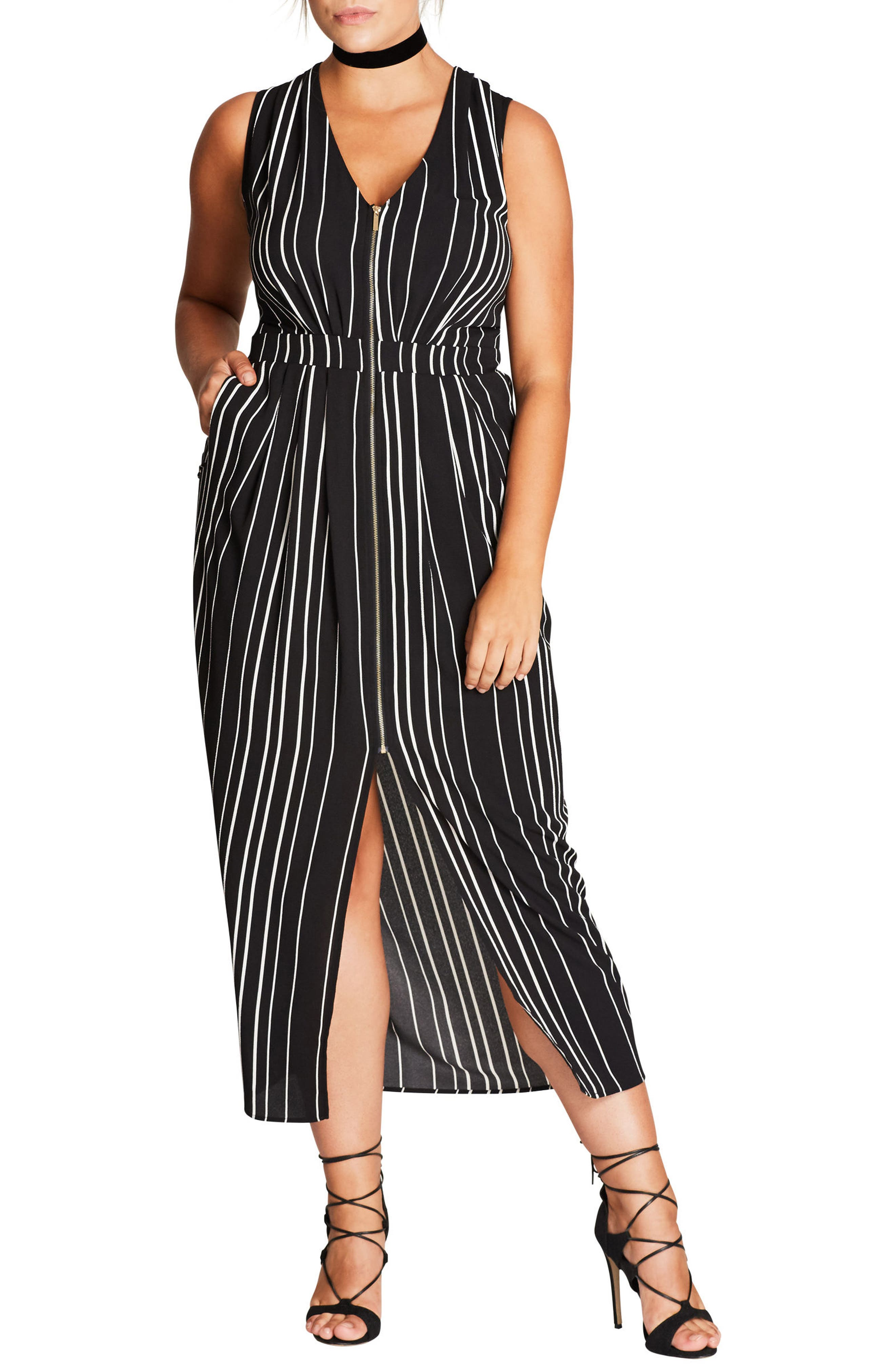 Pleat Zip Front Dress,                             Main thumbnail 1, color,                             001