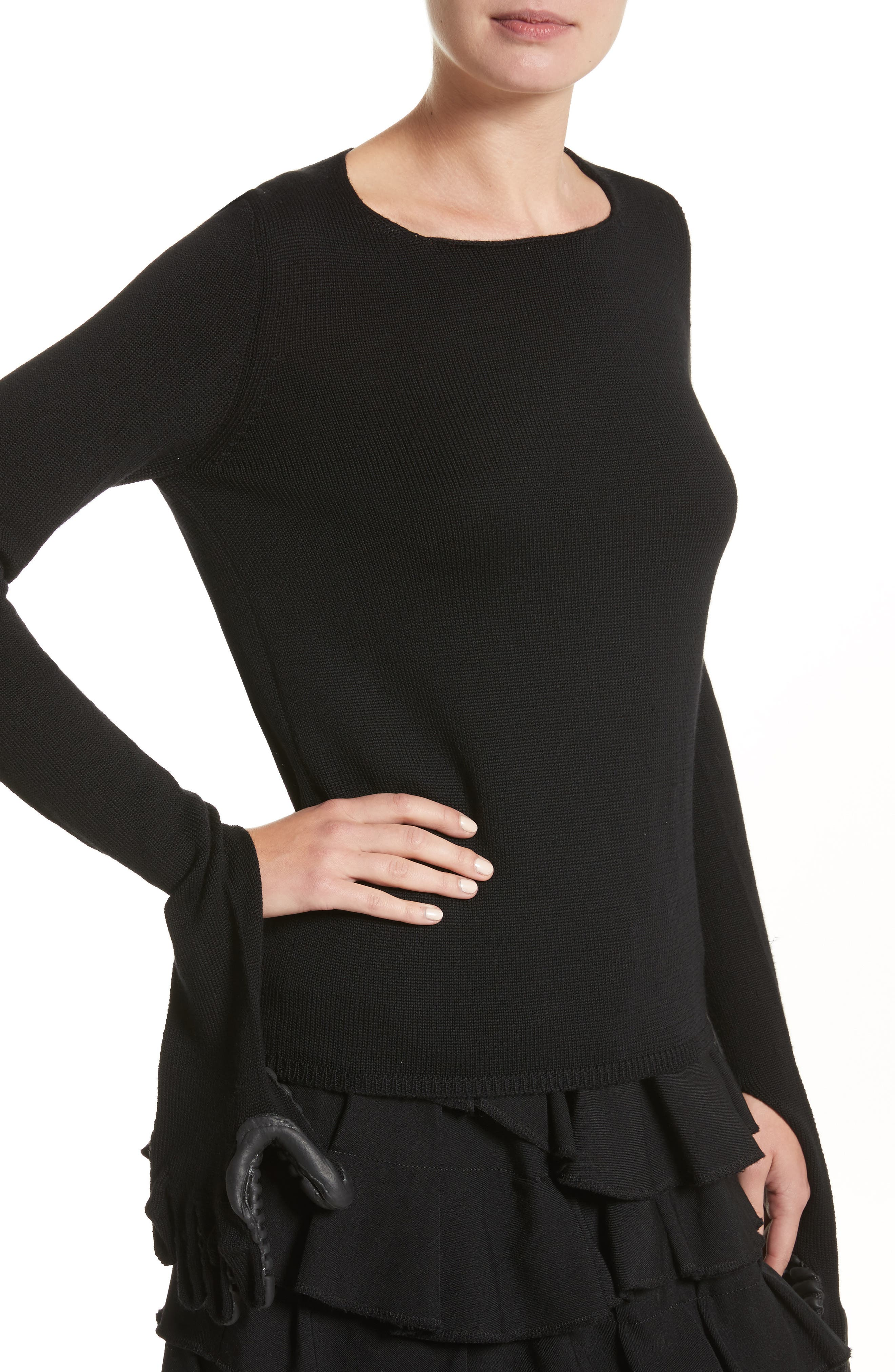 Wool Sweater with Rubber Gloves,                             Alternate thumbnail 4, color,                             003