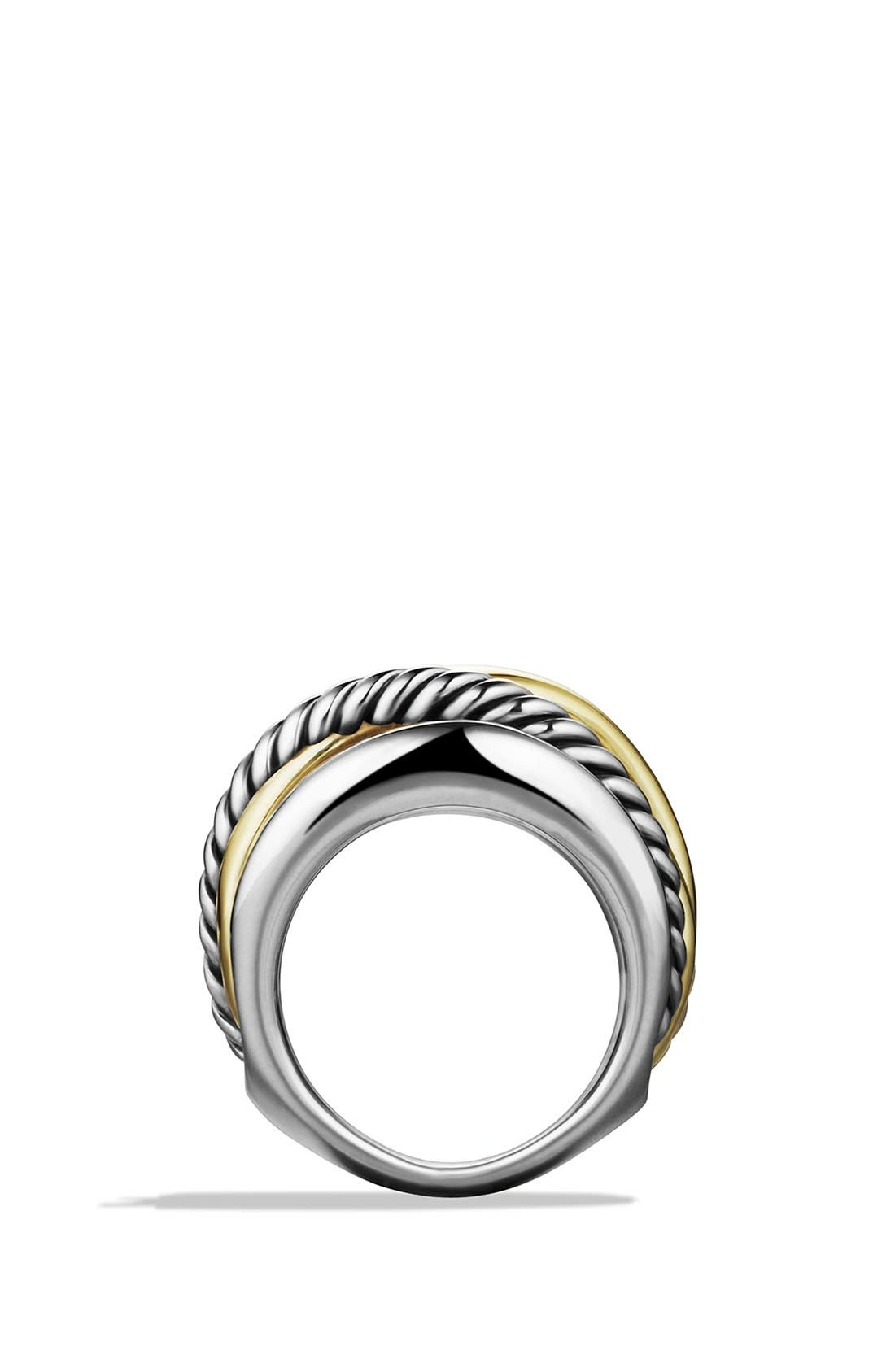 'Crossover' Wide Ring with Gold,                             Alternate thumbnail 4, color,                             STERLING SILVER/ 14K GOLD