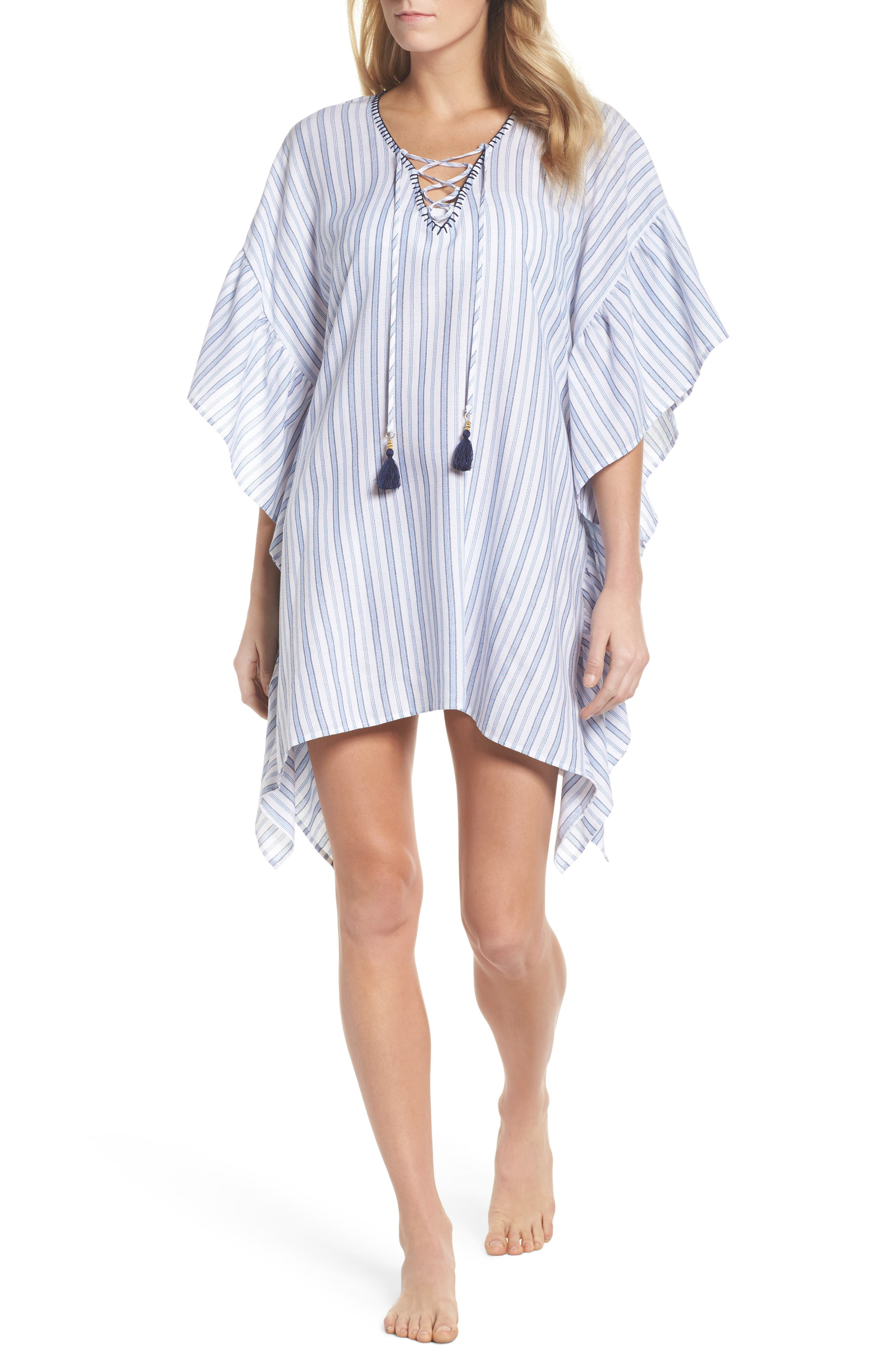 Ticking Stripe Cover-Up Tunic,                             Main thumbnail 1, color,                             WHITE